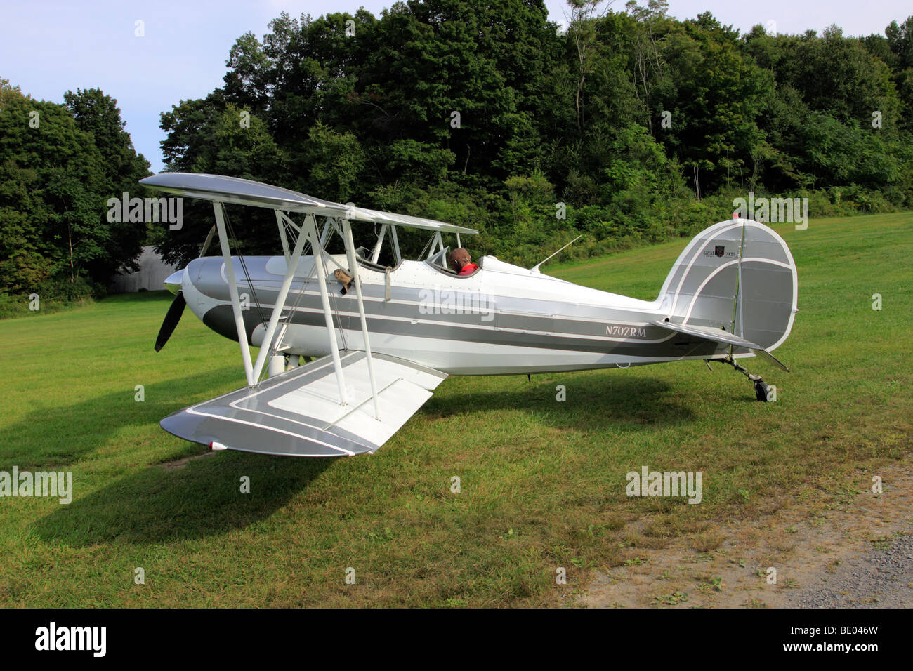 1976 Great Lakes Aircraft Company Model 2T-1A-2 bi-plane, ready for takeoff at historic Old Rhinebeck Aerodrome, - Stock Image