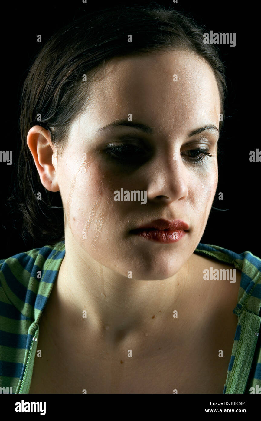 woman crying - Stock Image