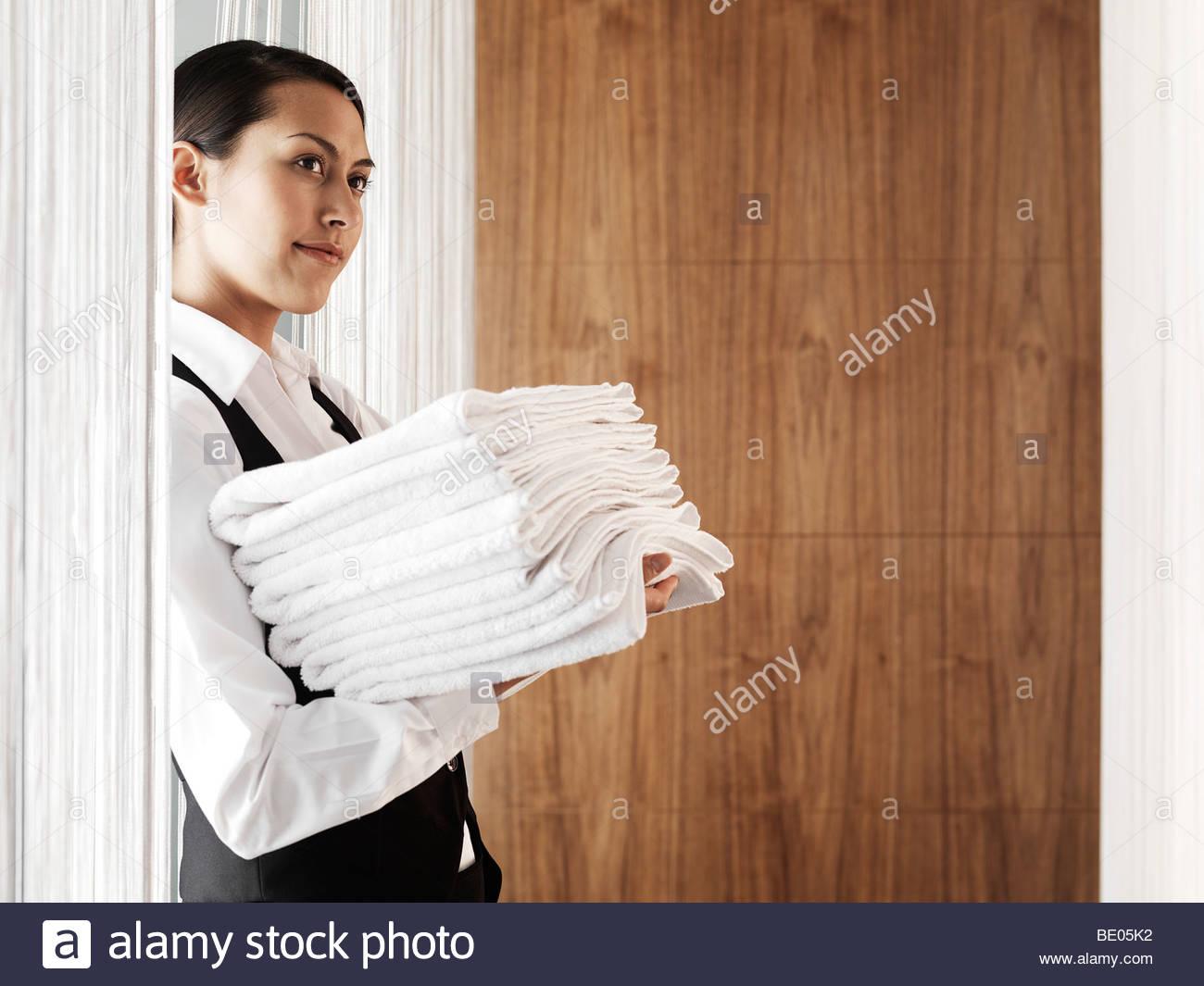 female hotel worker - Stock Image