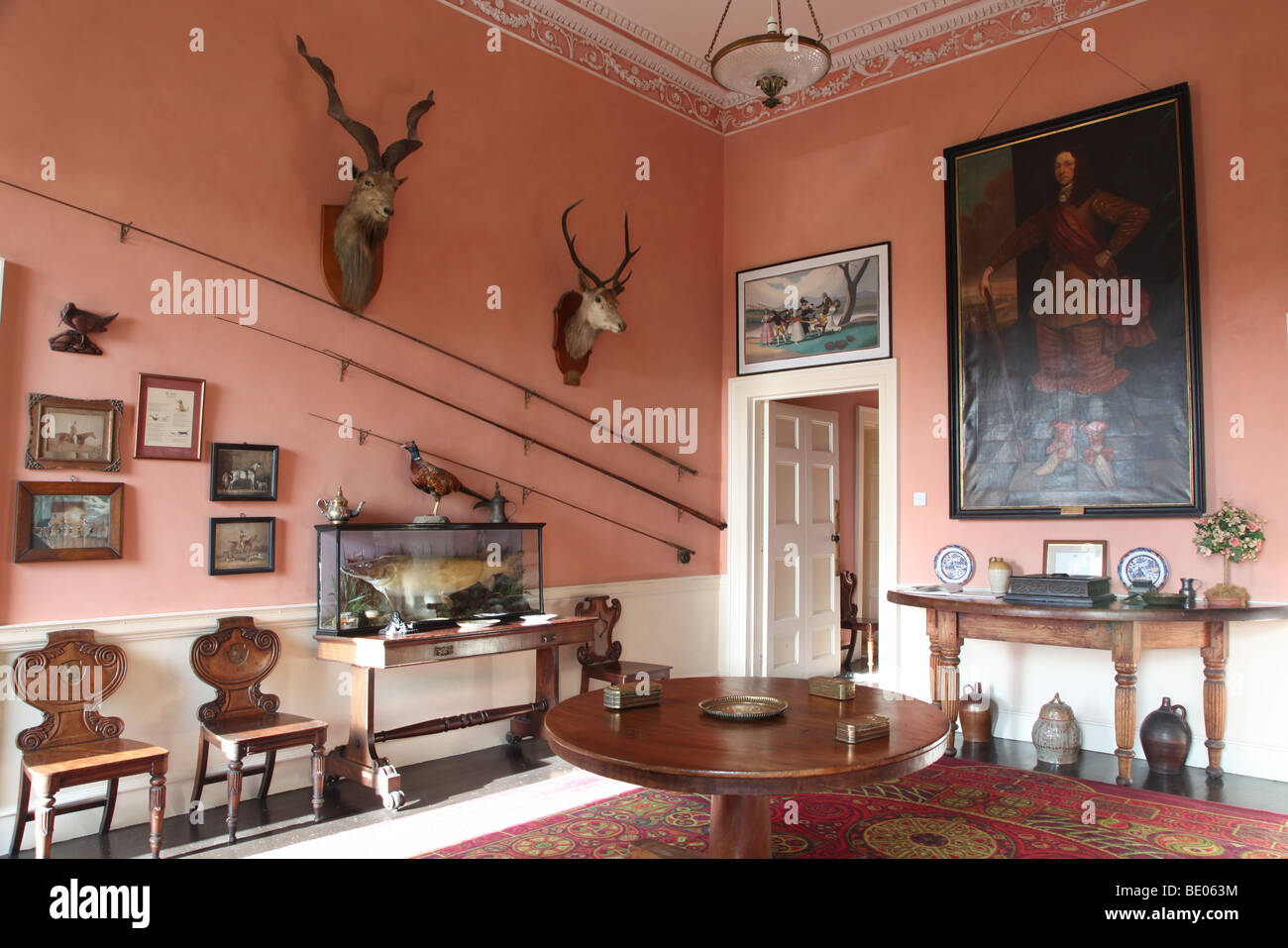 The hall of Enniscoe House, Irish stately home owned by Susan Kellett - Stock Image