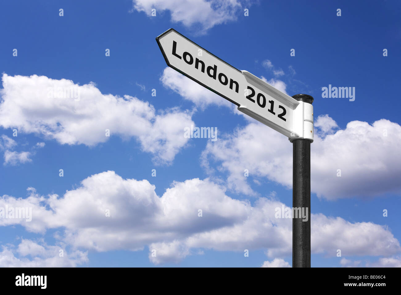 Signpost indicating London 2012 the place and date of the next Olympic games. - Stock Image