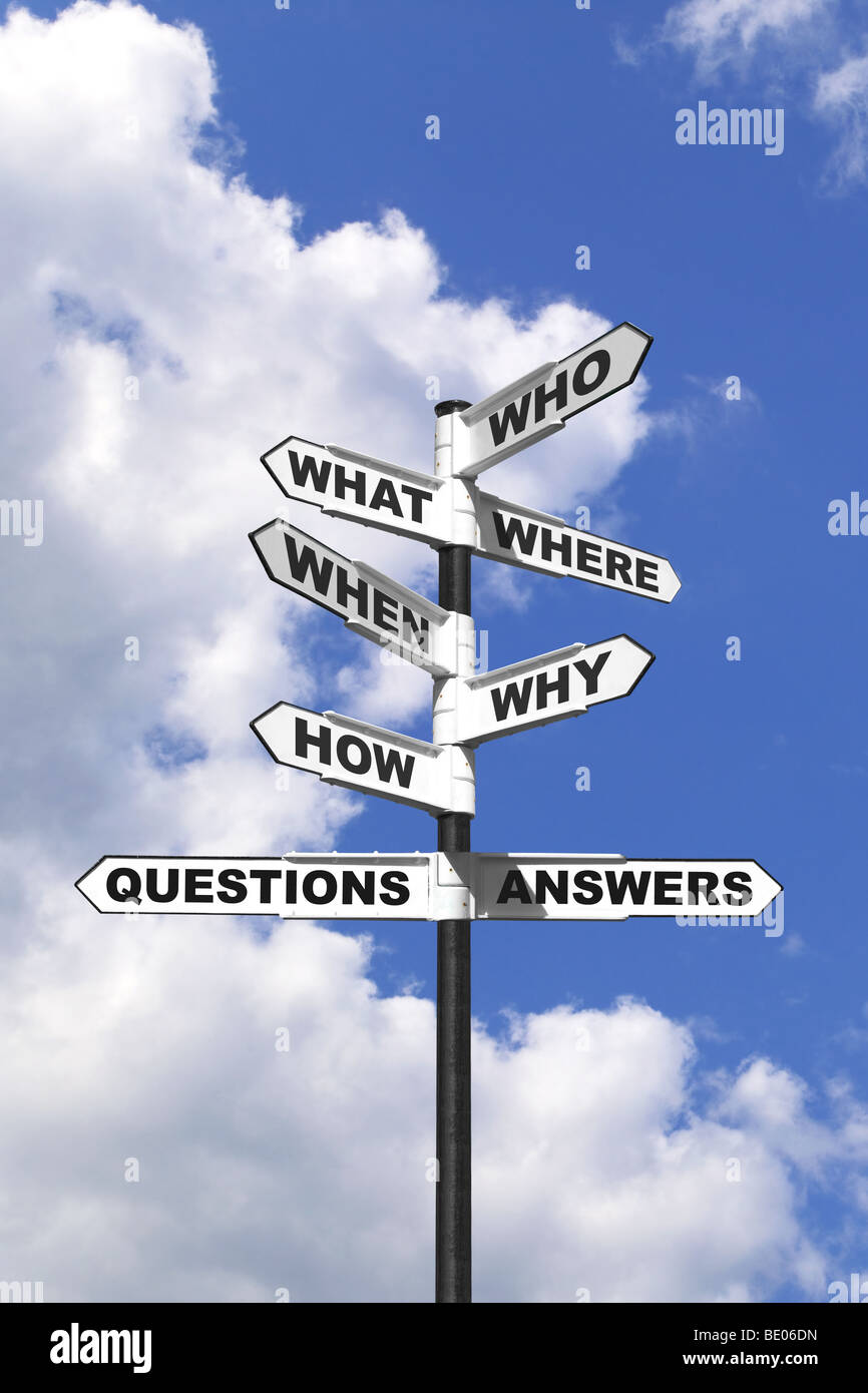 Concept image of the six most common questions and answers on a signpost. - Stock Image