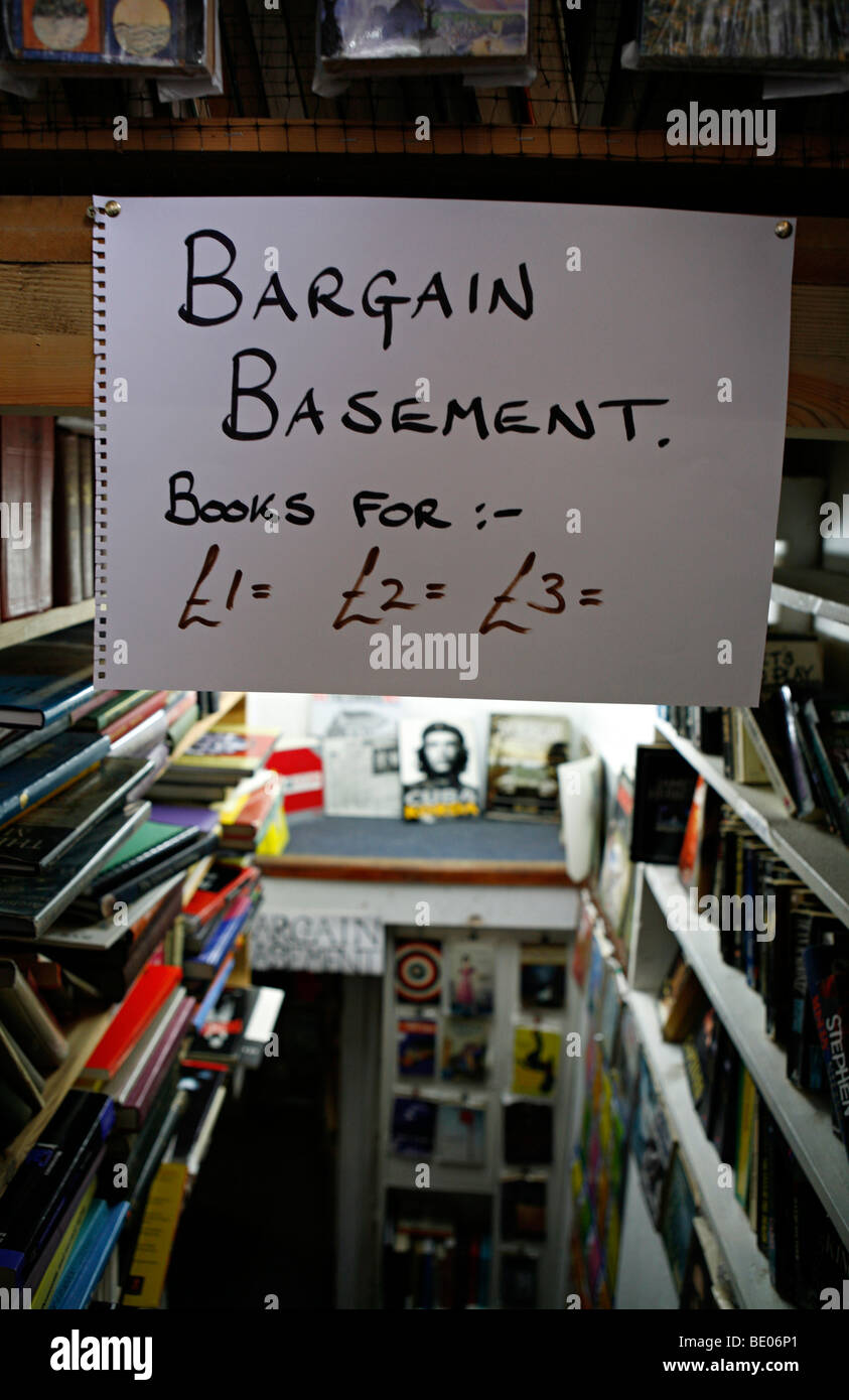 A Bargain Basemant insdie a book shop in a welsh village.Hay-on-wye - Stock Image