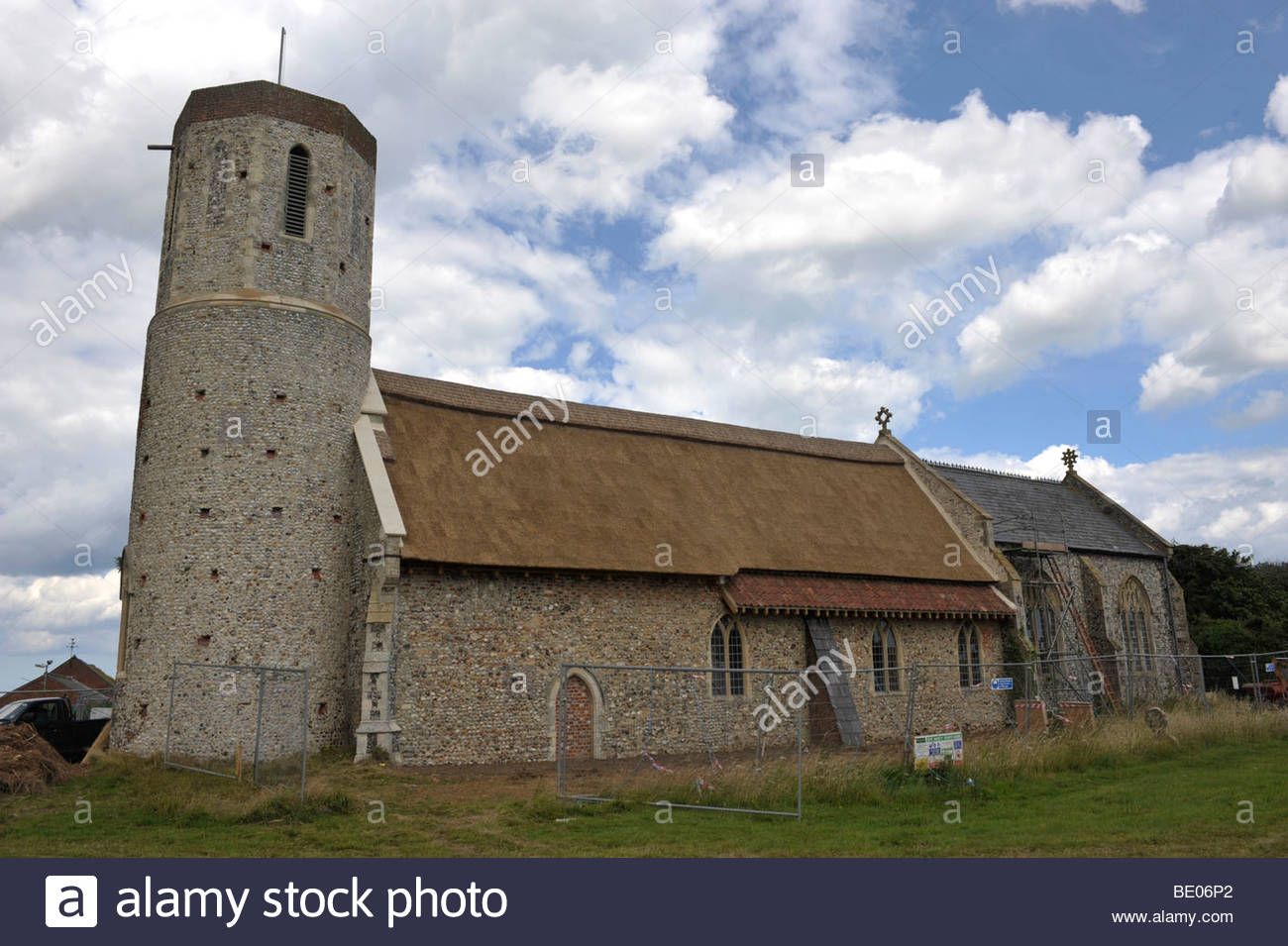 newly thatched roof of St Mary's Church, West Somerton, Norfolk. - Stock Image
