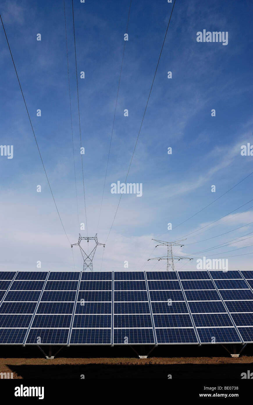 Solar panel and power line - Stock Image