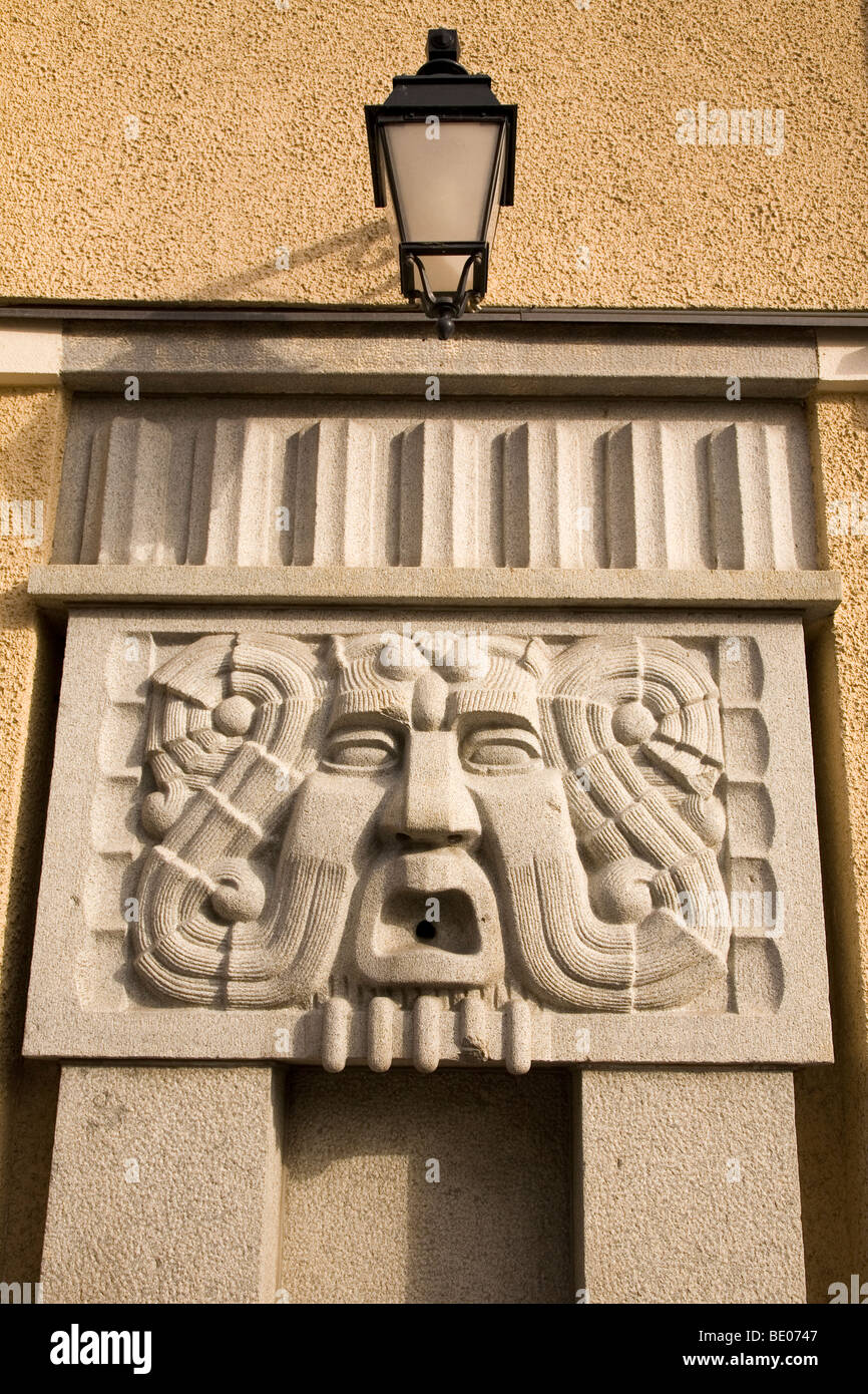 Detail from one of the buildings close to Central Square in Tampere, Finland: A lamp and Art Nouveau (Jugendstil) - Stock Image