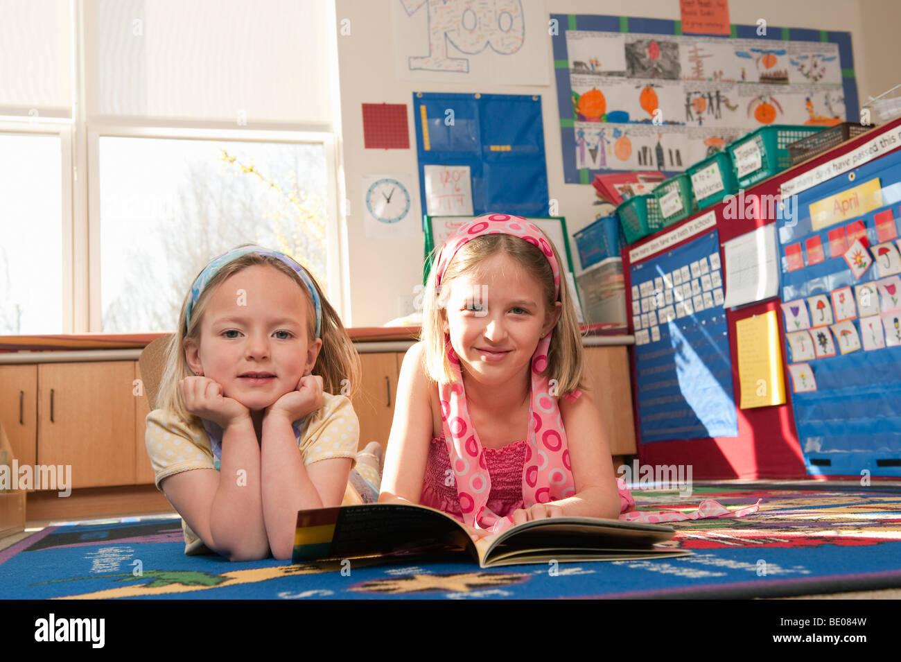 Elementary School Children Reading - Stock Image