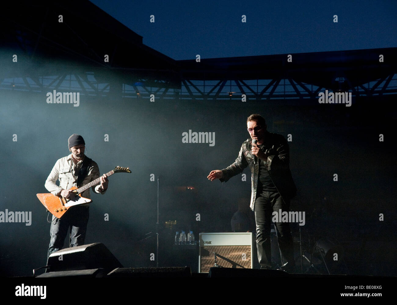 The Edge and Bono from U2 at Wembley Stadium in London on the 360 tour - Stock Image