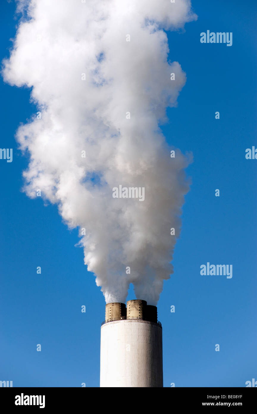 Close up of steam  puthering from Cottam power Station chimney in Nottinghamshire,England,'Great Britain','United - Stock Image