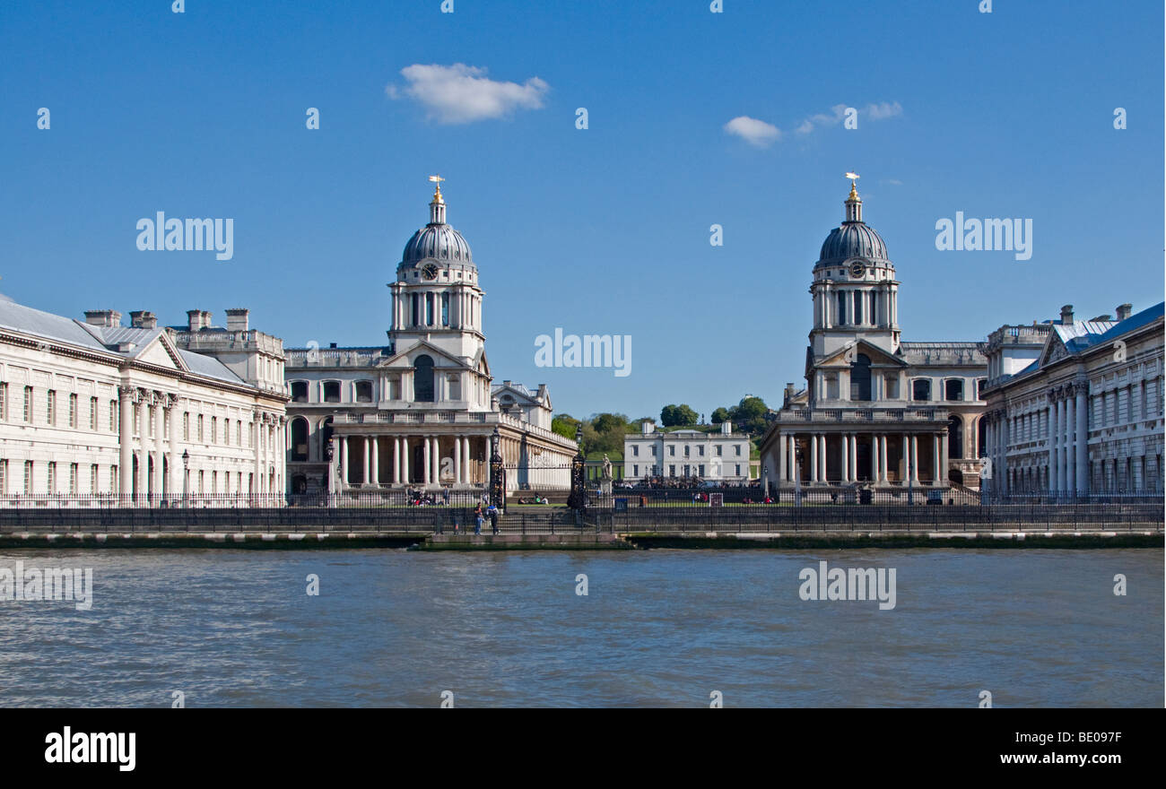 Royal Naval College and River Thames, Greenwich, London, England - Stock Image