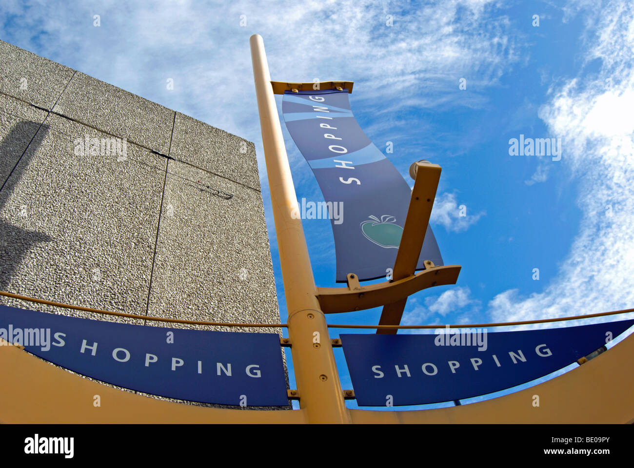 fixed banner signs for shopping, outside the eden walk shopping precinct in kingston upon thames, surrey, england - Stock Image
