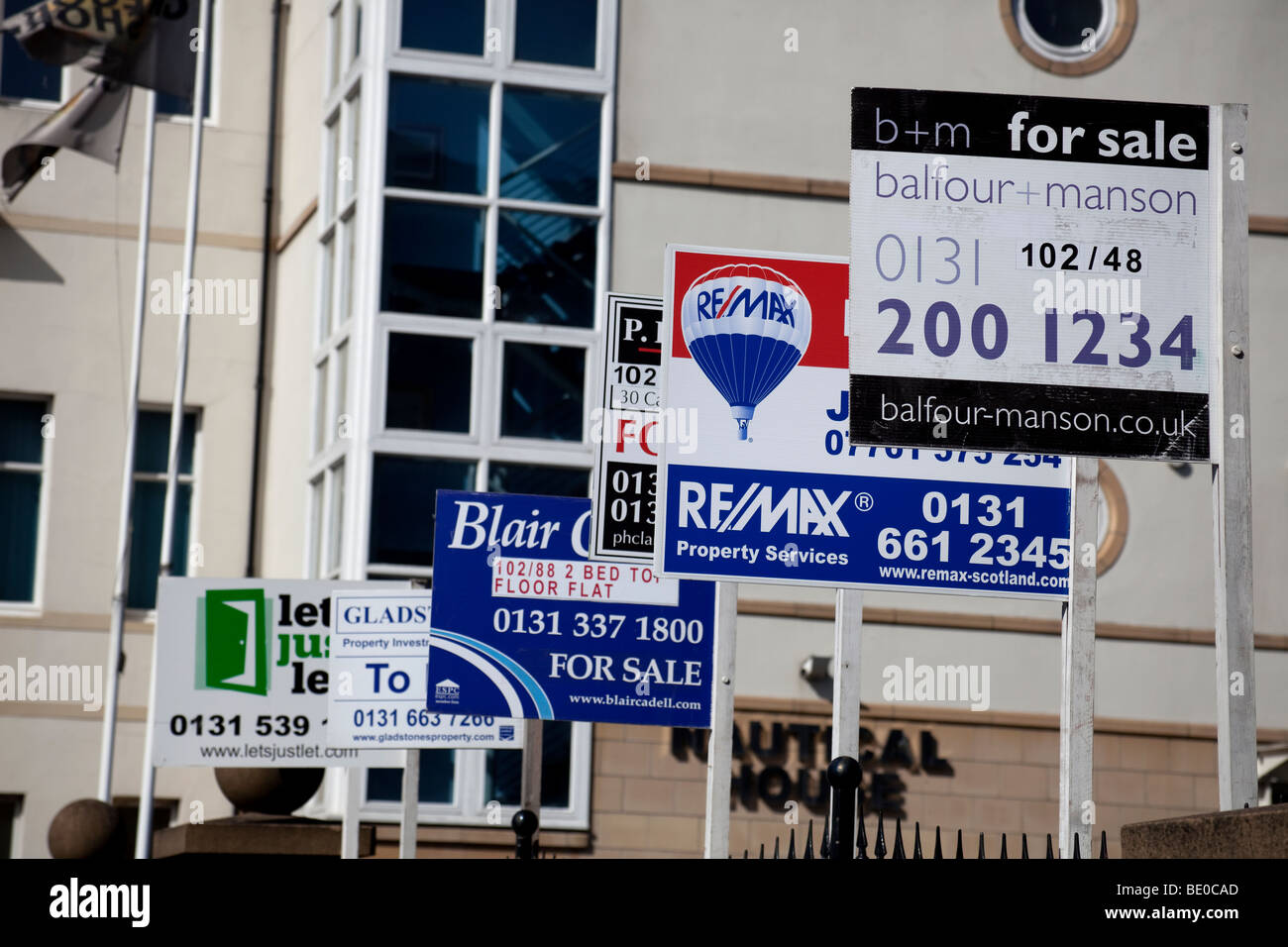 Multiple sale signs for selling and letting houses, Edinburgh Scotland, UK, Europe Stock Photo