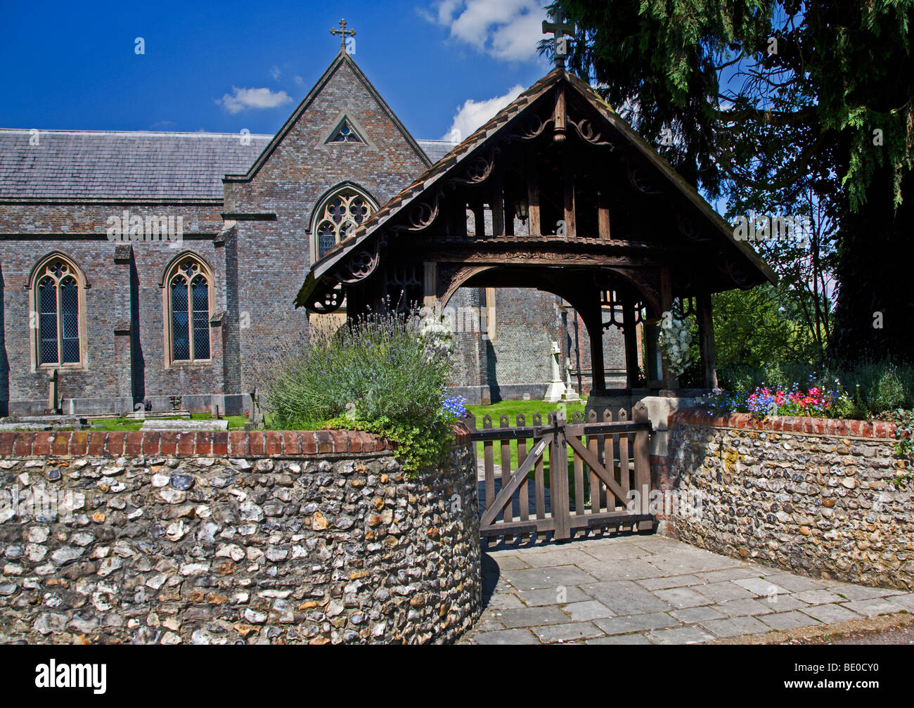 Lych Gate at St Matthews Church, Otterbourne, Hampshire, England - Stock Image