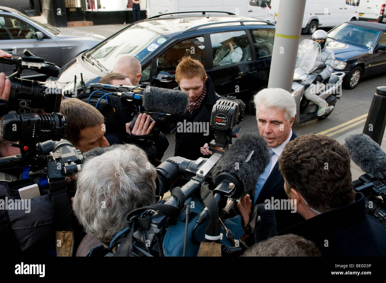 Max Clifford, publicist and PR agent.  Here during visit to his client Jade Goody, in the Royal Marsden Hospital. - Stock Image