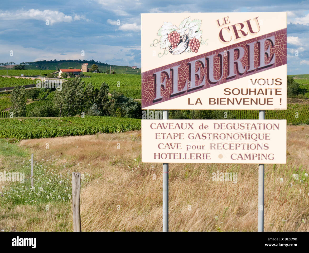 A signboard at the roadside advertises the renowned Beaujolais wine of Fleurie. - Stock Image