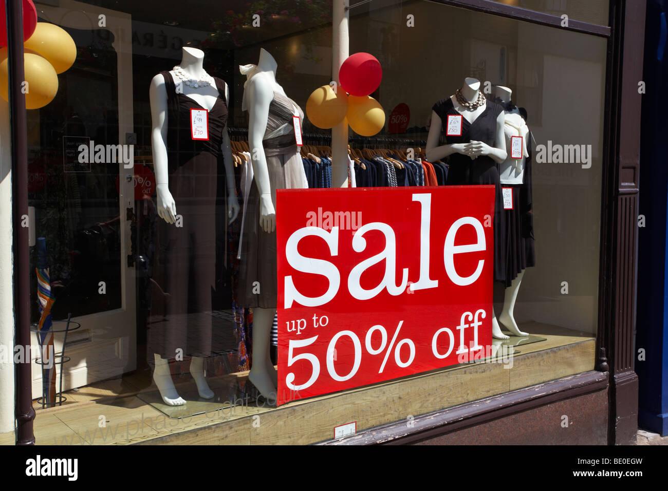 England Suffolk Bury St Edmunds SALE sign in Dress shop window - Stock Image