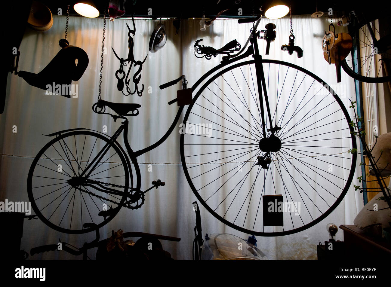 Old Victorian bicycle in the attic, London, United Kingdom - Stock Image