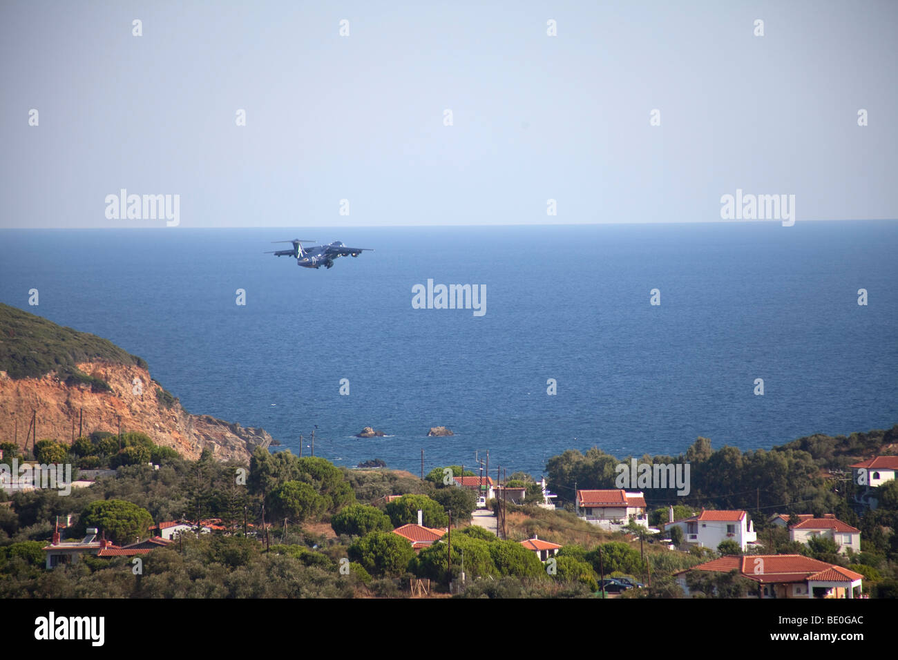 airplane takeoff in airport of Skiathos island,Greece - Stock Image