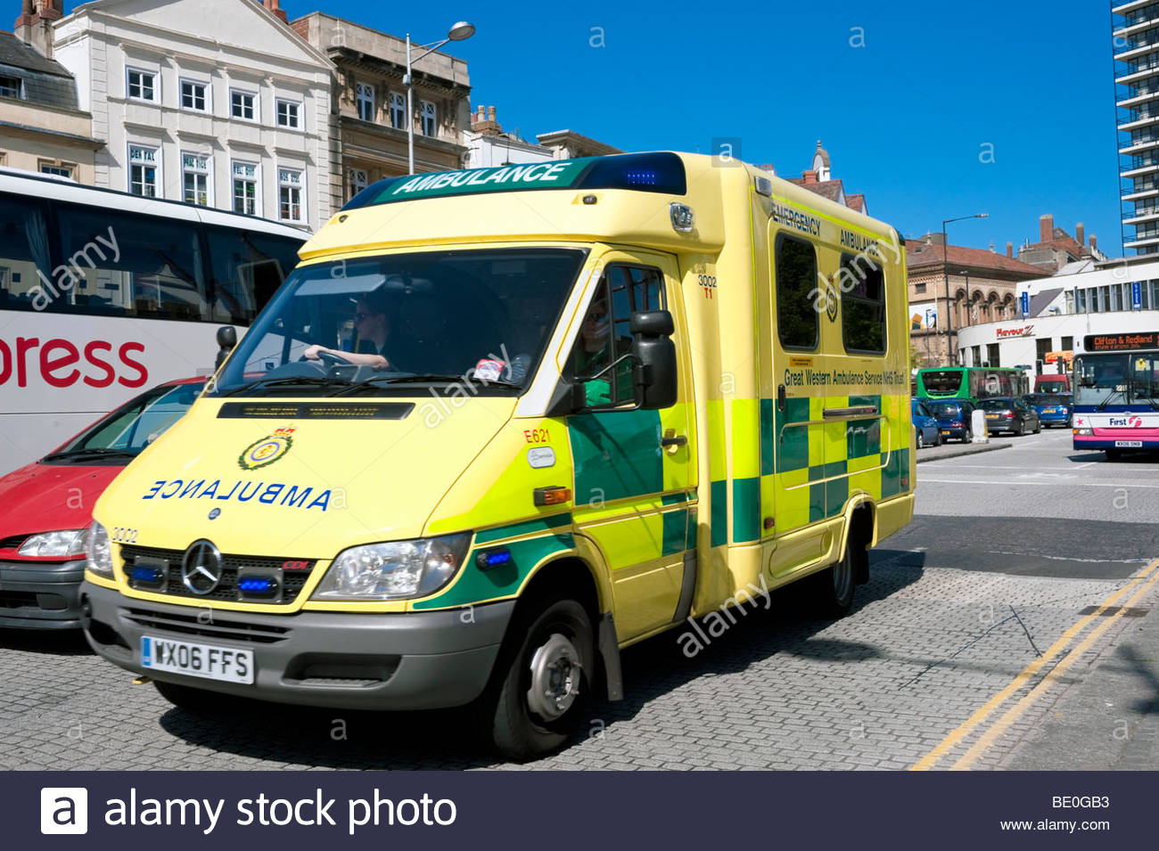 Great Western Ambulance Service NHS trust emergency vehicle in Bristol City Centre, UK. - Stock Image