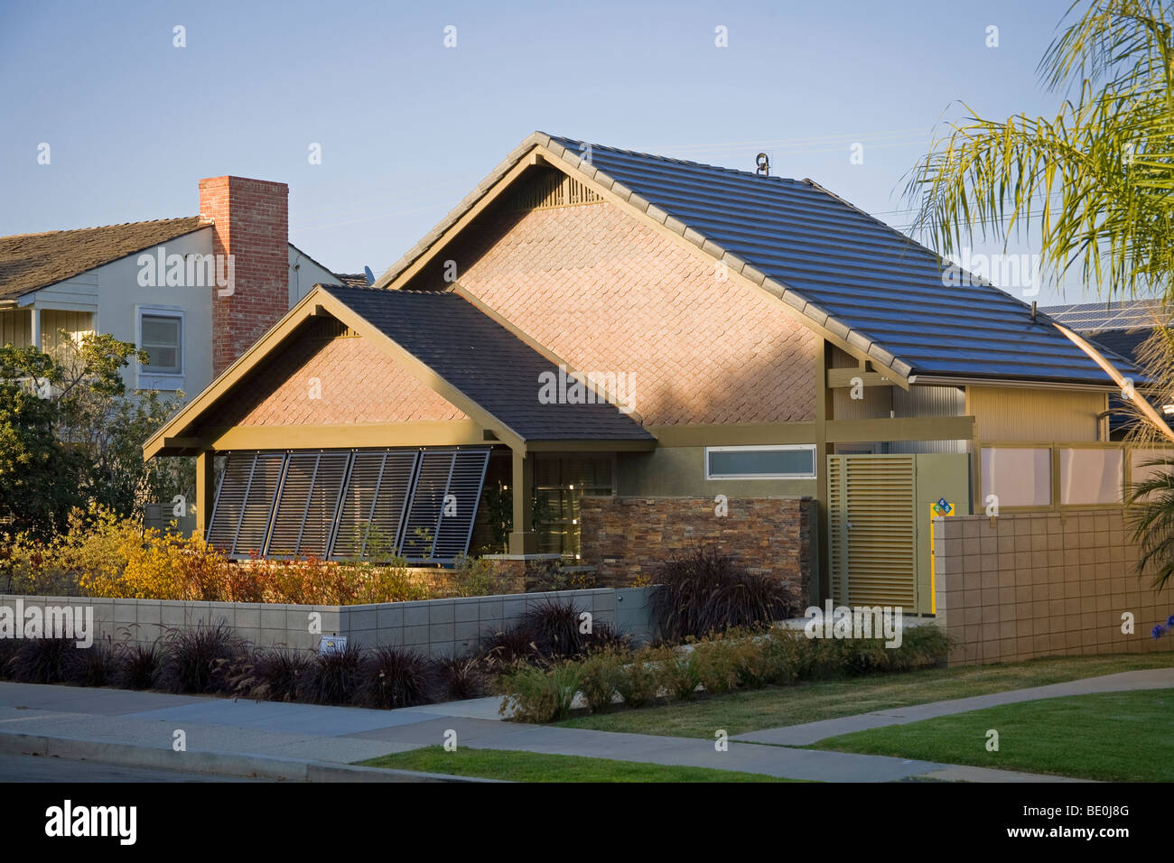Green House in Long Beach retrofitted with Building Integrated Photovoltaics (BIPV) Modules, California, USA - Stock Image