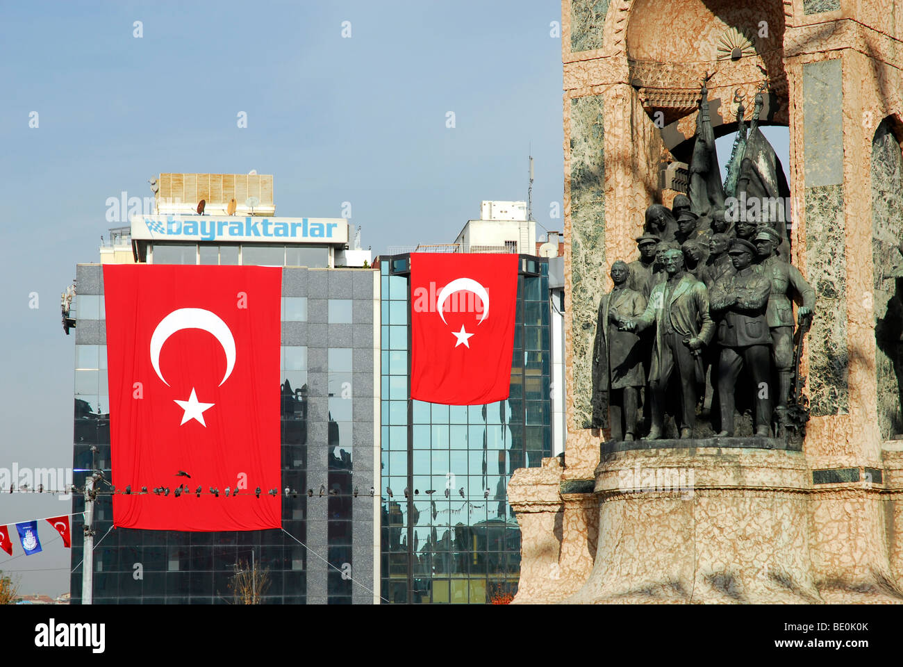 Ataturk monument and national flag at the annual festival of the Republic on October 29th, Taksim Square, Taksim - Stock Image
