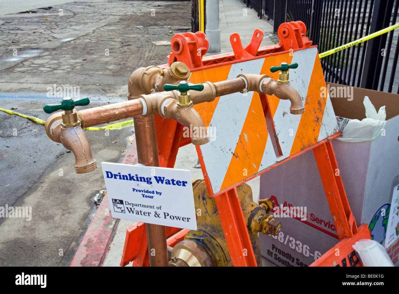 DWP drinking water spigot, Los Angeles, California, USA - Stock Image