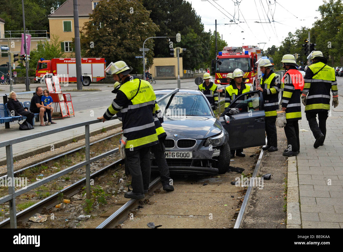 Accident, car on tram tracks, license plate changed, Munich, Bavaria, Germany, Europe - Stock Image