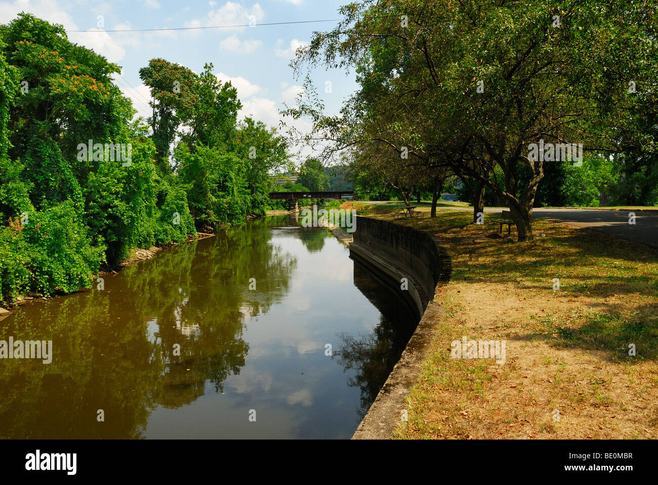 canal leading to lock number 10 along the Muskingum River in Zanesville Ohio Stock Photo