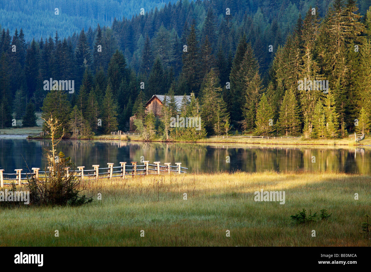 Prebersee Lake in the morning, Lungau, Salzburg state, Austria, Europe Stock Photo