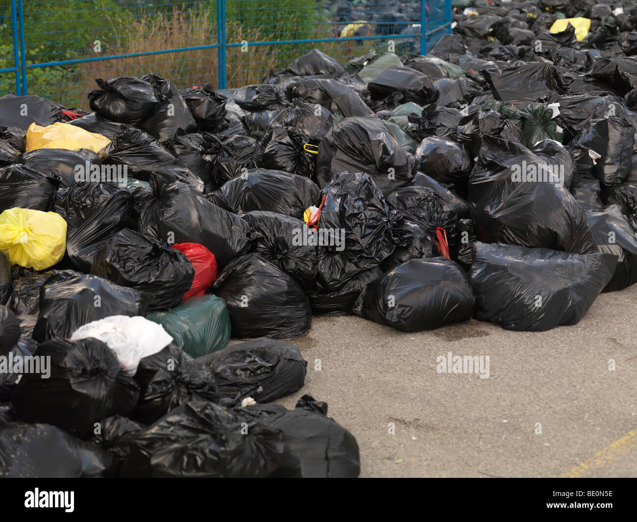 Garbage dump in a park - Stock Image