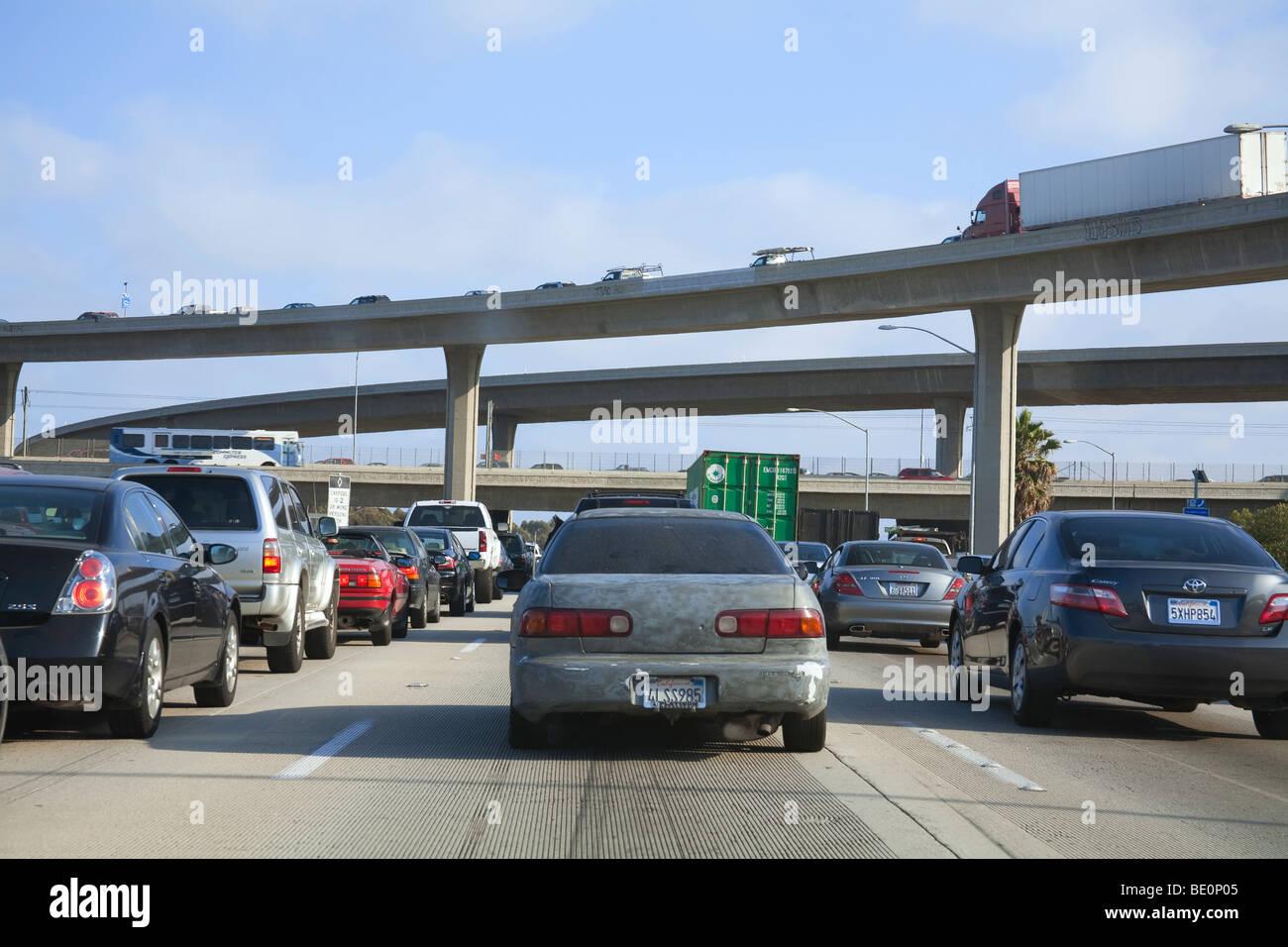 Traffic on the 405 Freeway, Los Angeles, California, USA - Stock Image