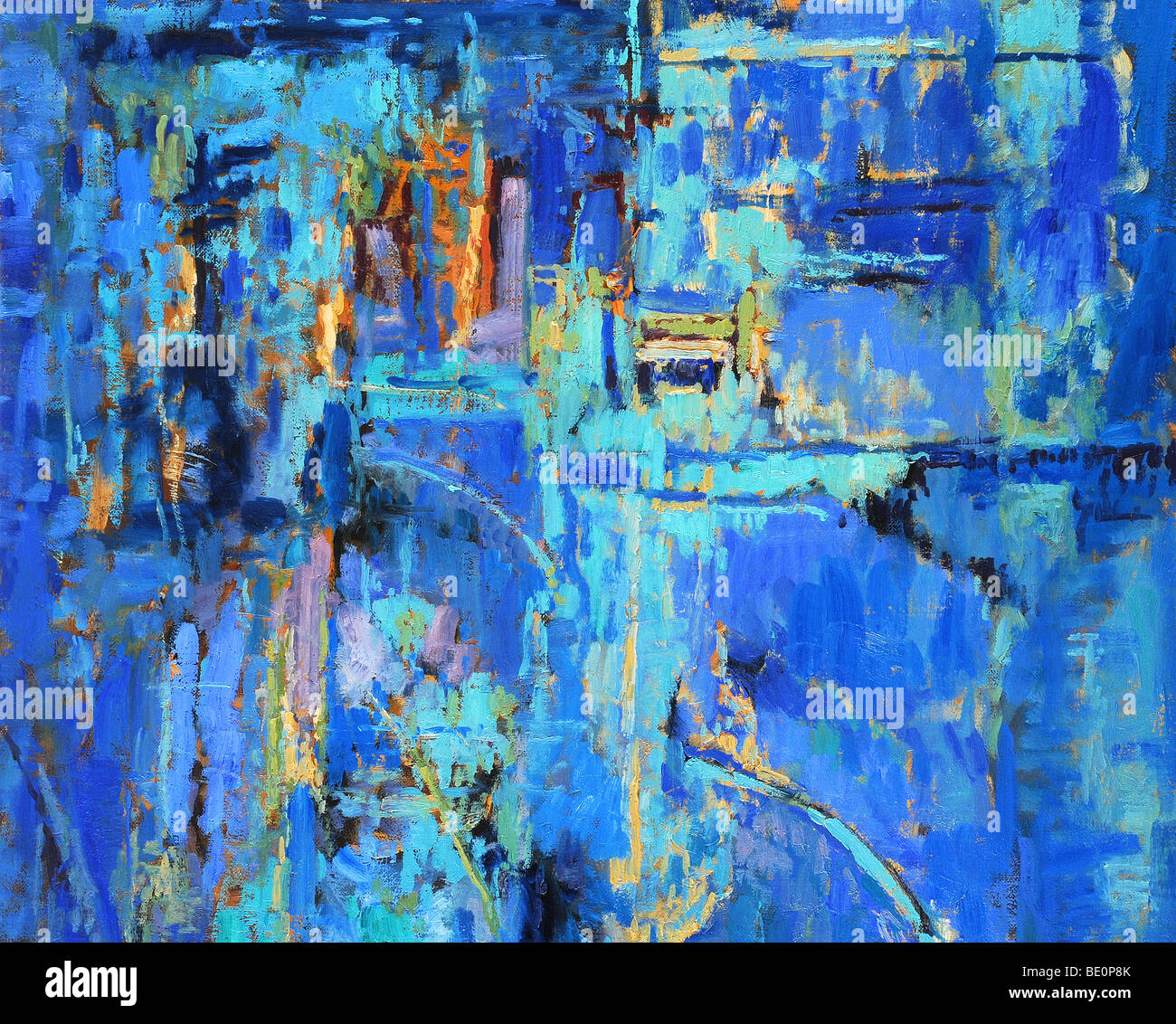 Abstract oil painting with predominant blues - Stock Image