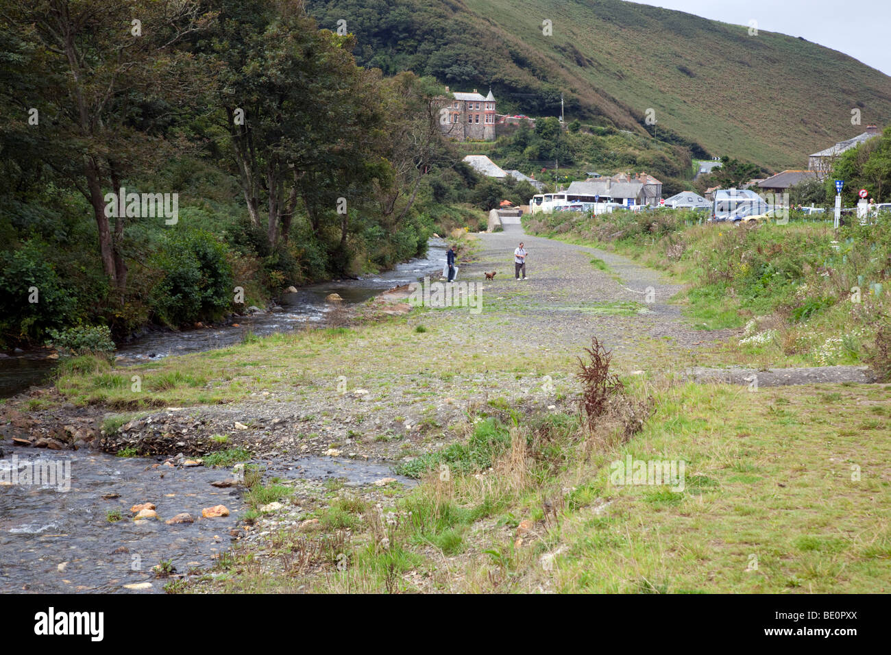 flood defence on the river valency; boscastle; cornwall - Stock Image
