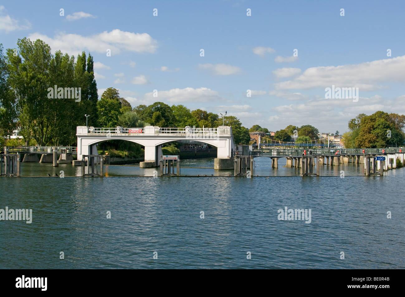 The Weir At Teddington Lock On The River Thames England Stock Photo