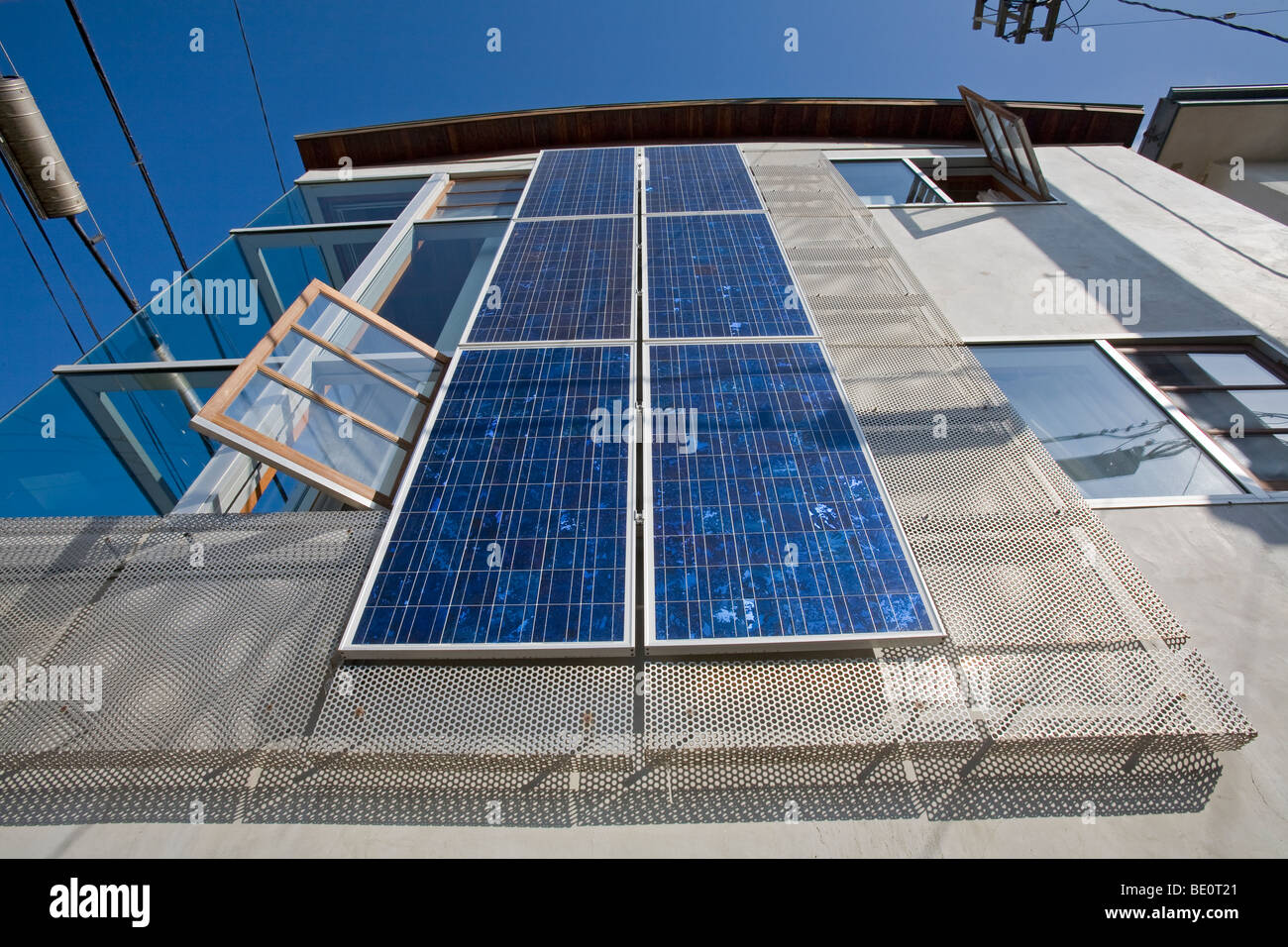 Solar Array on the side of house in Venice, Los Angeles, California, USA - Stock Image