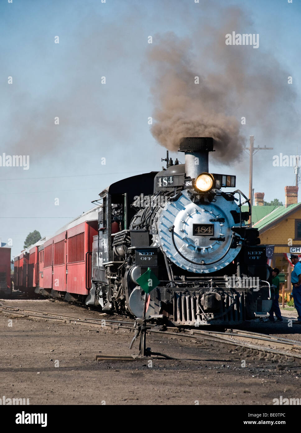 A 'Cumbres & Toltec' steam locomotive is readied for it's 64-mile scenic journey from Chama, New - Stock Image