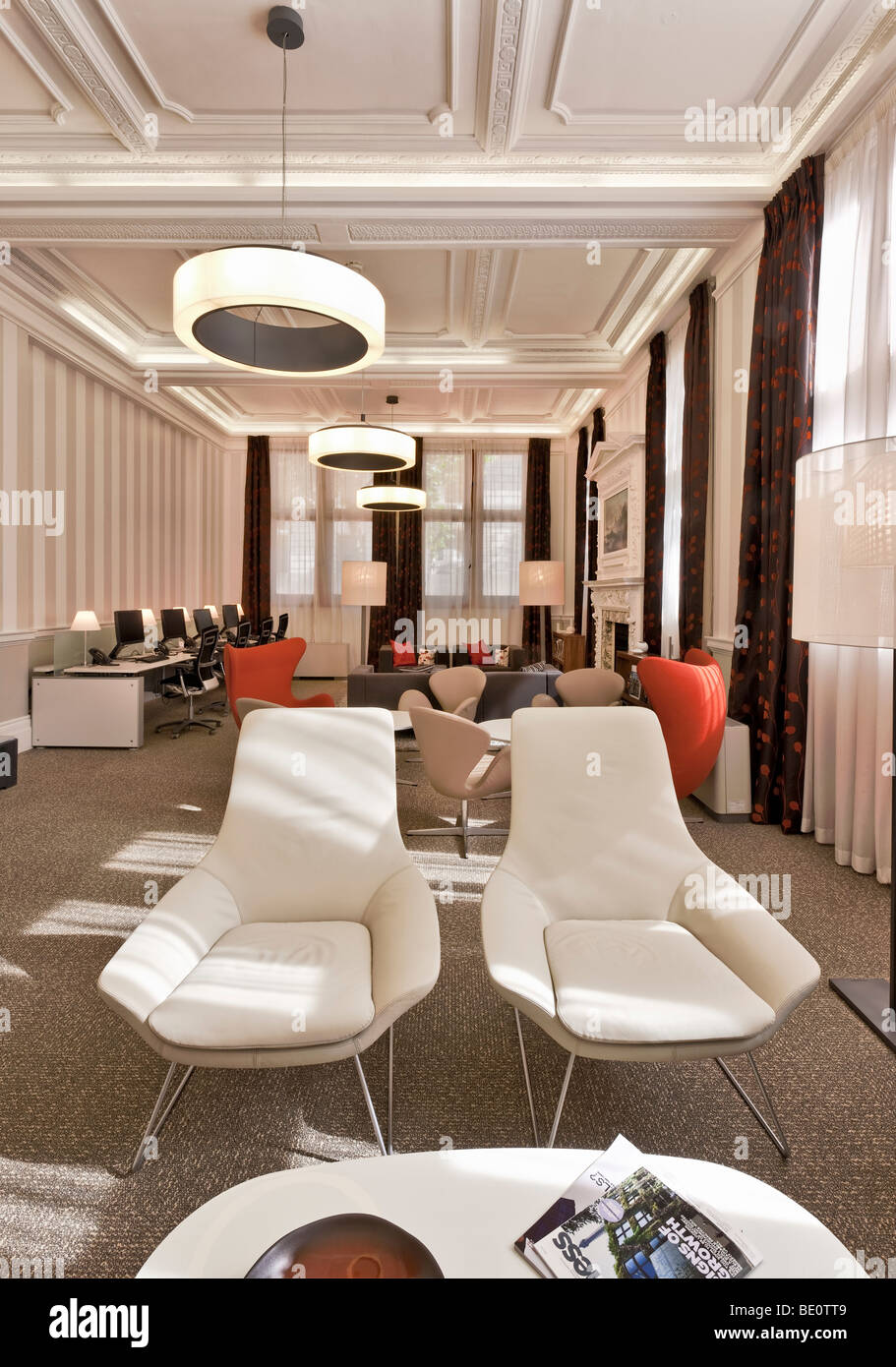 Lounge at the Royal Institution of Chartered Surveyors Headquarters in Westminster, London. - Stock Image