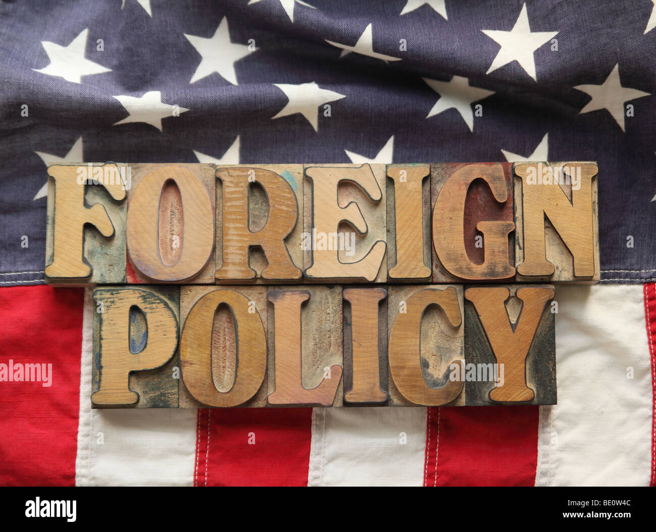 American flag with the words 'foreign policy' - Stock Image