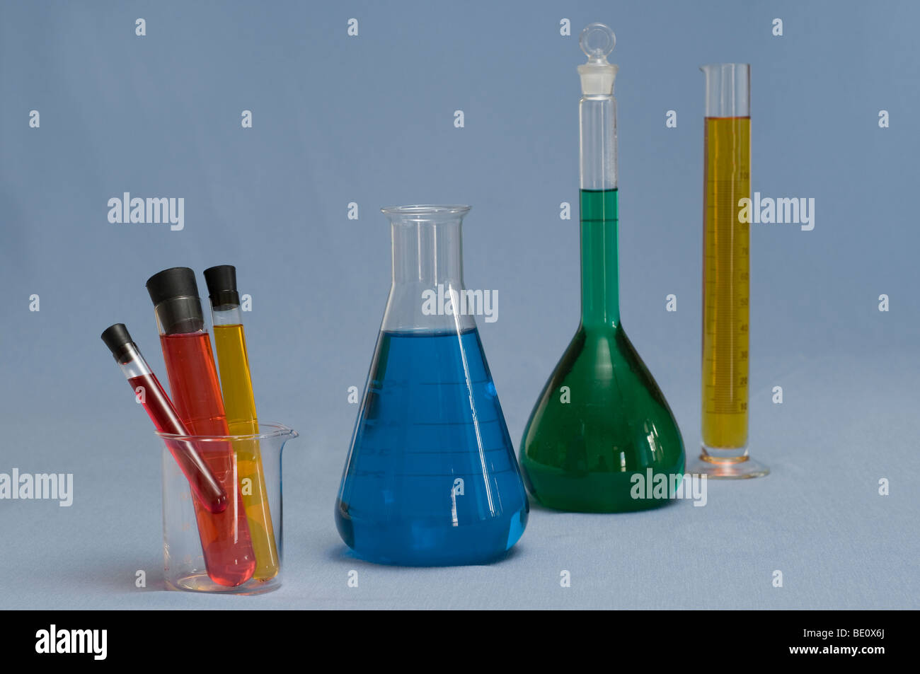 collection of Laboratory Equipment including beakers and flasks Stock Photo