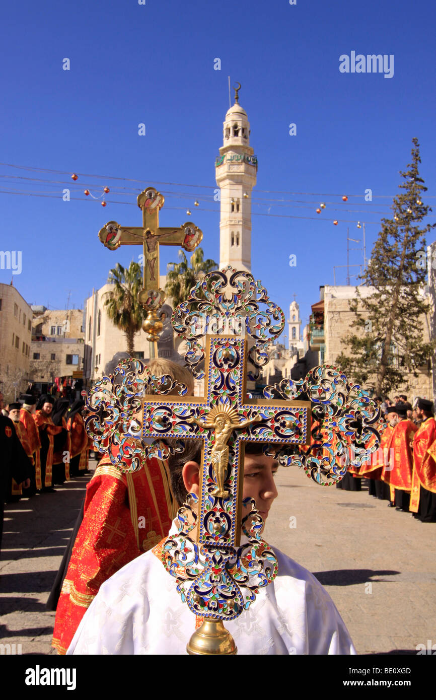 Greek Orthodox Christmas.Bethlehem The Greek Orthodox Christmas Procession In Manger