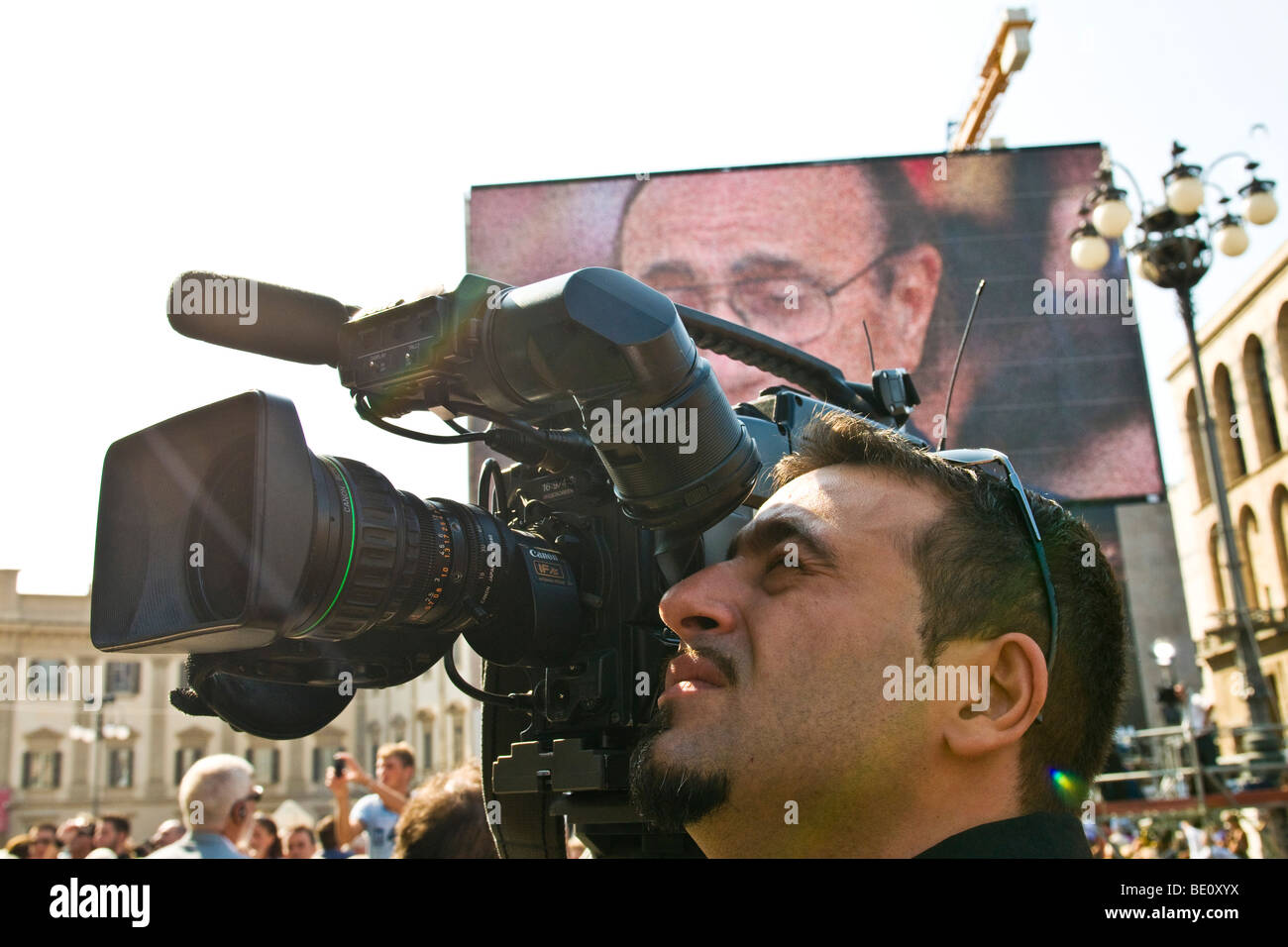 Cameramen, Funeral of Mike Bongiorno, Milan, ITALY, 12 september 2009 - Stock Image