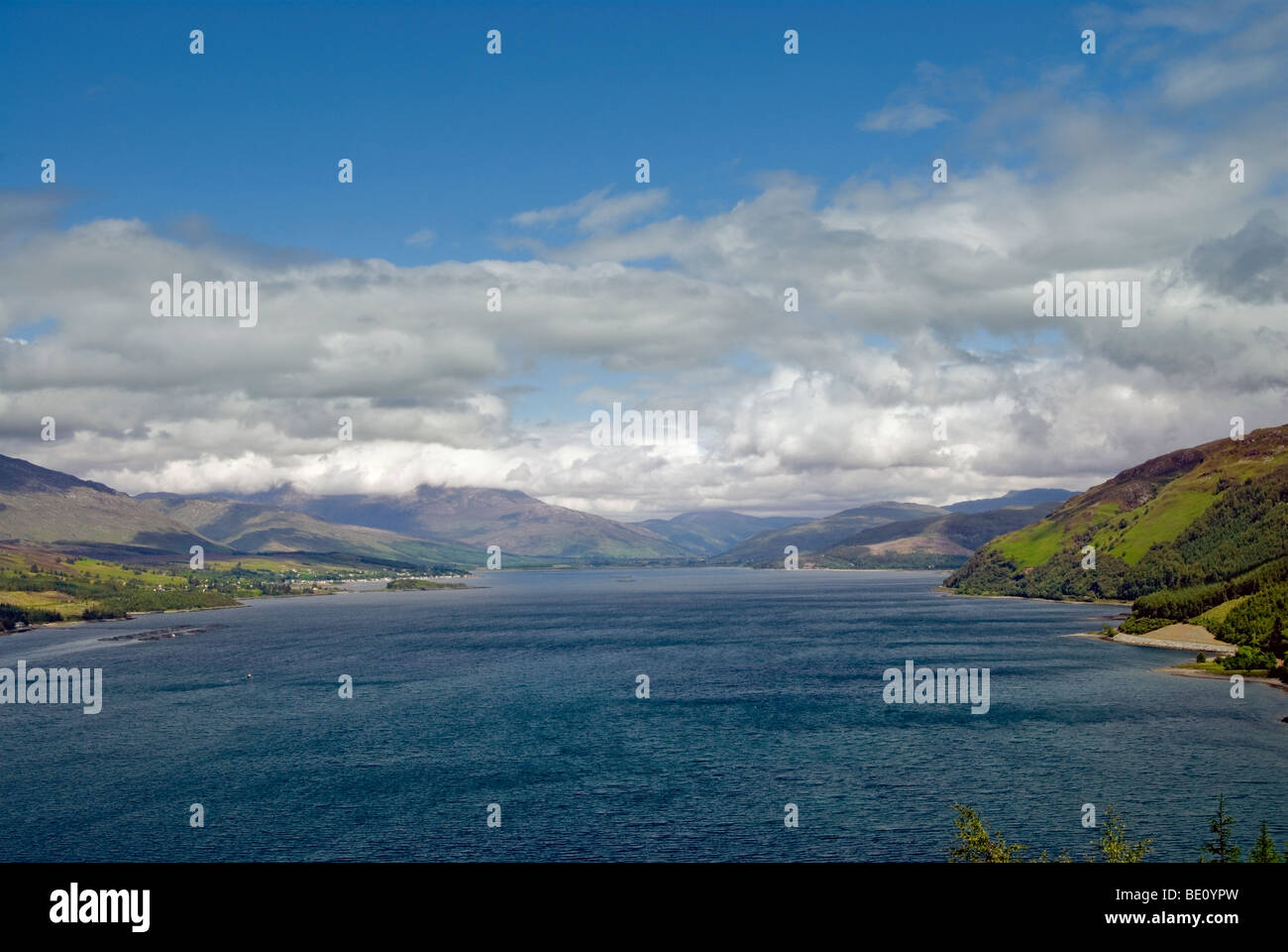 Birds eye view over Loch Carron on the west coast of Scotland - Stock Image