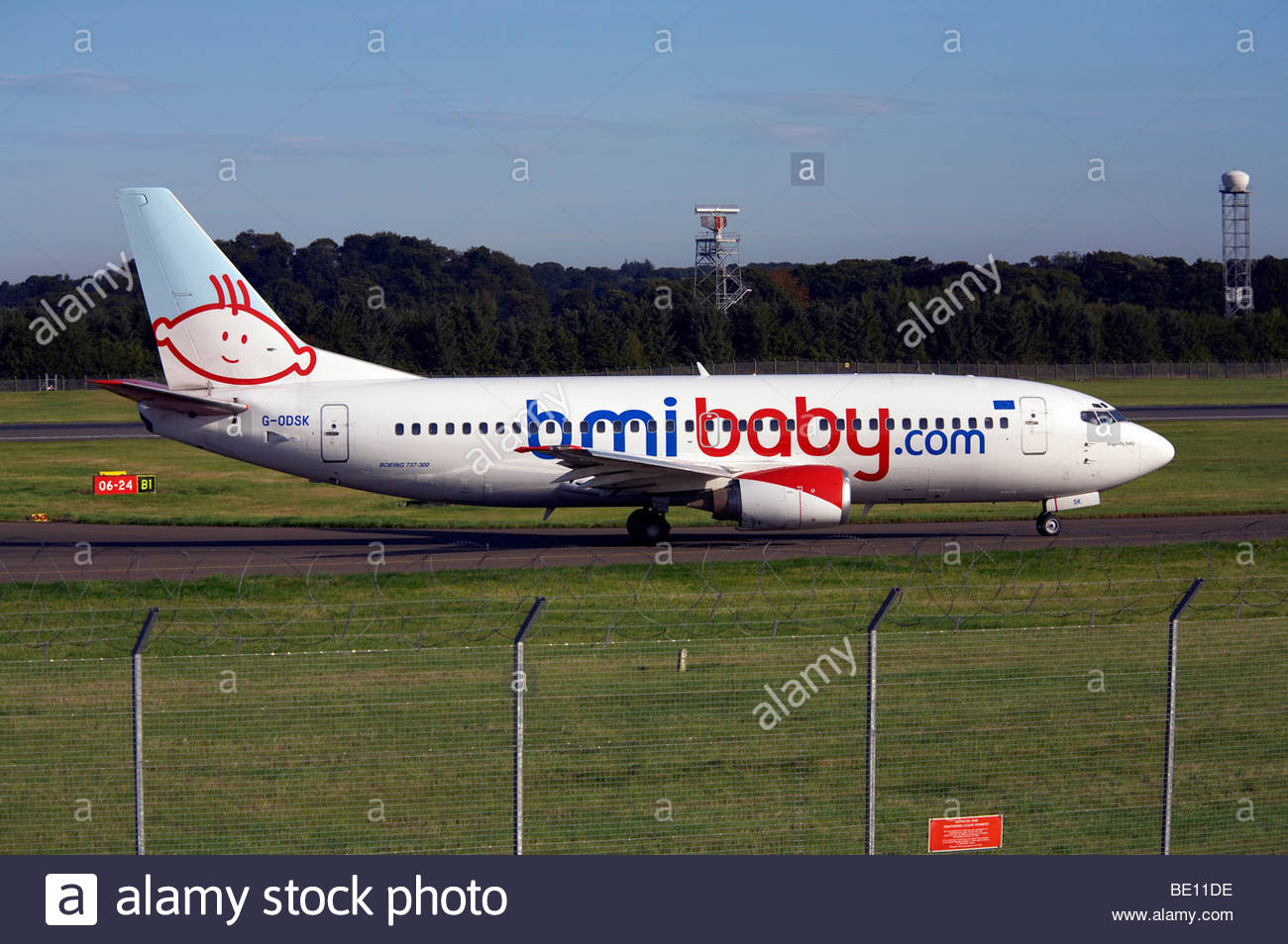 BmiBaby Boeing 737 taxiing at airport - Stock Image