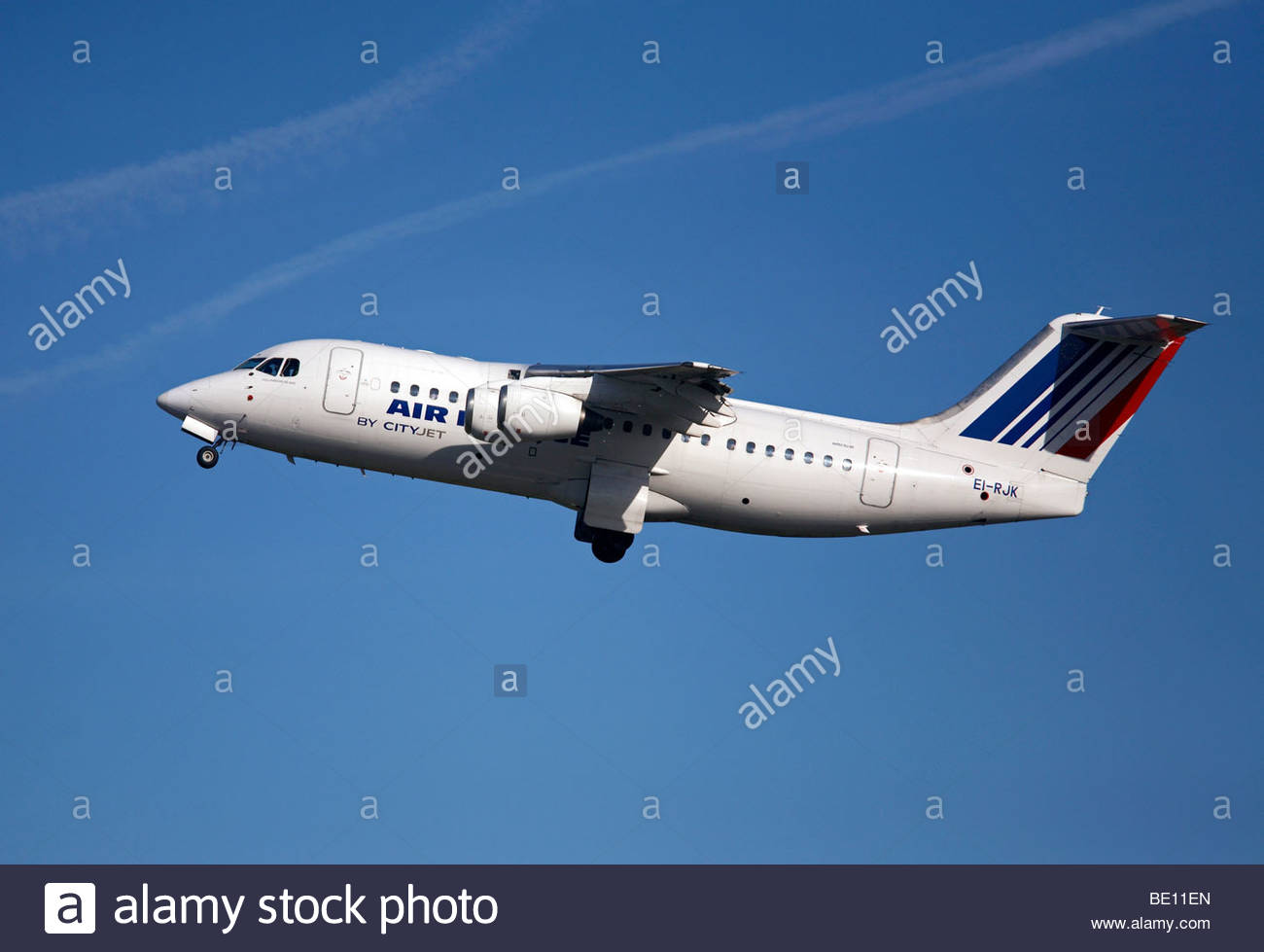 Air France Cityjet flight shortly after takeoff - Stock Image