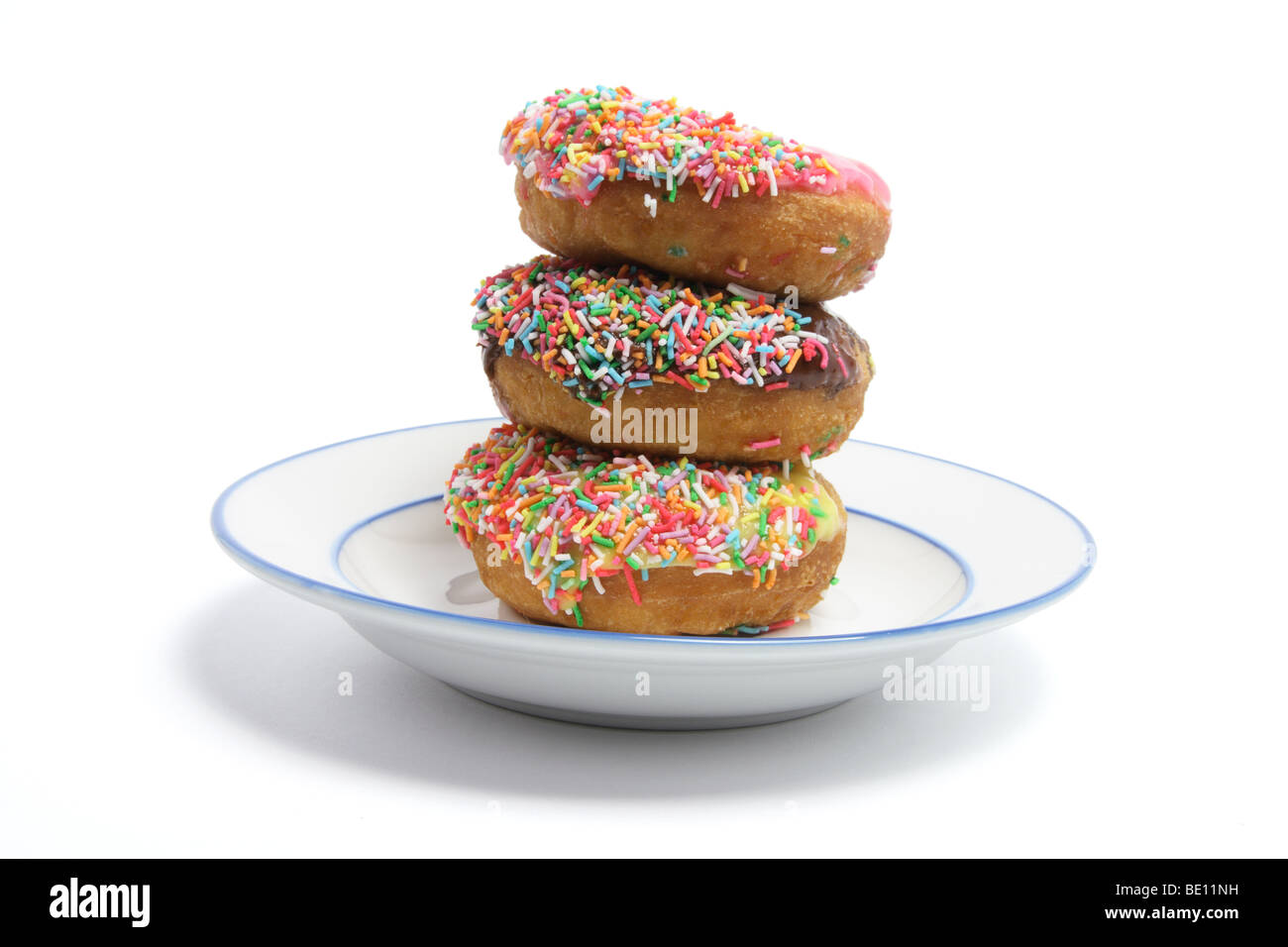 Doughnuts on a Plate - Stock Image
