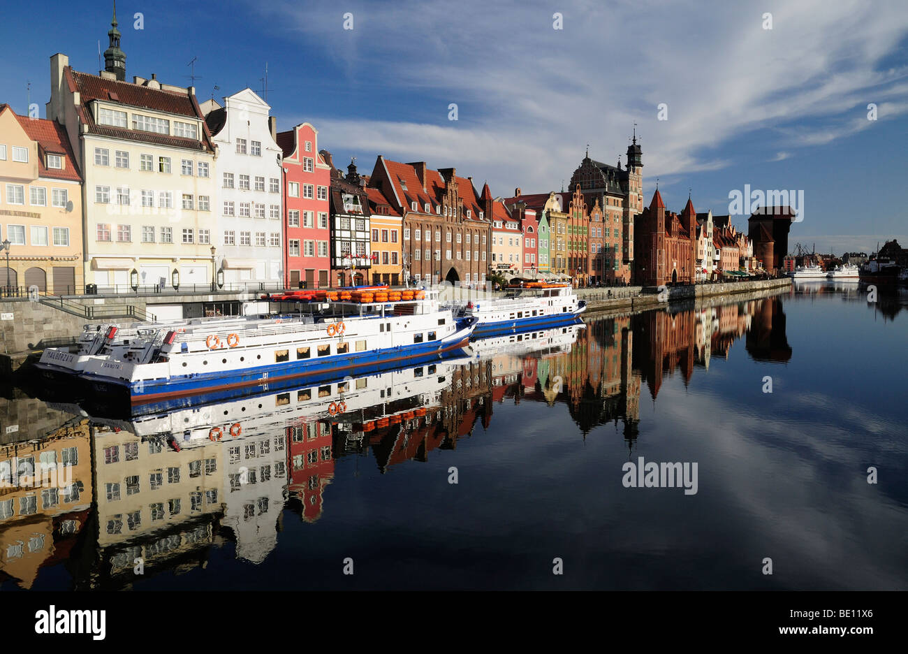Gdansk waterfront, Motlava river, Poland - Stock Image