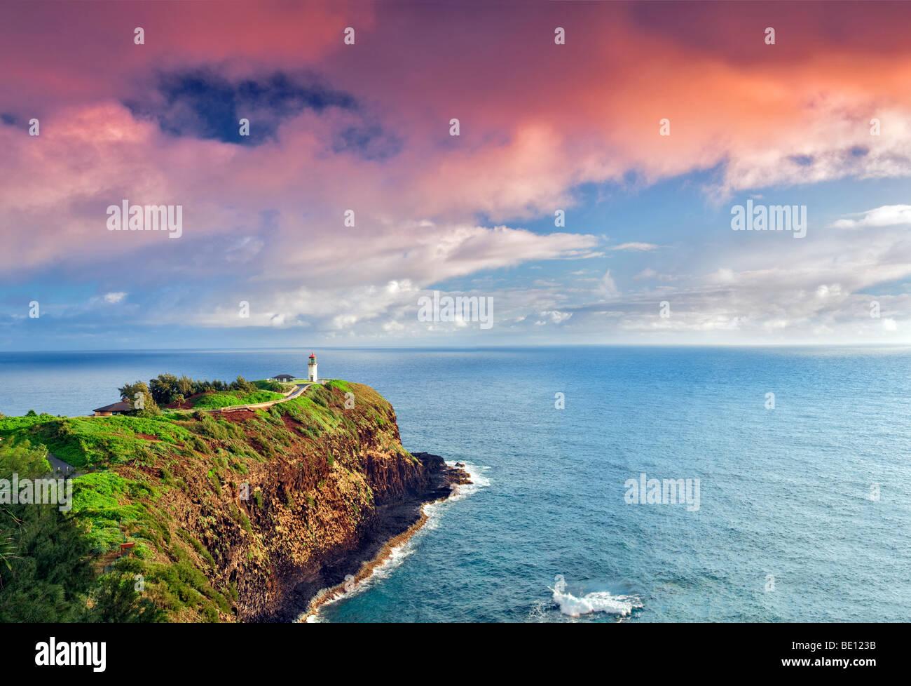 Kilauea Lighthouse. Kilauea Point National Wildlife Refuge, Kauai, Hawaii. - Stock Image