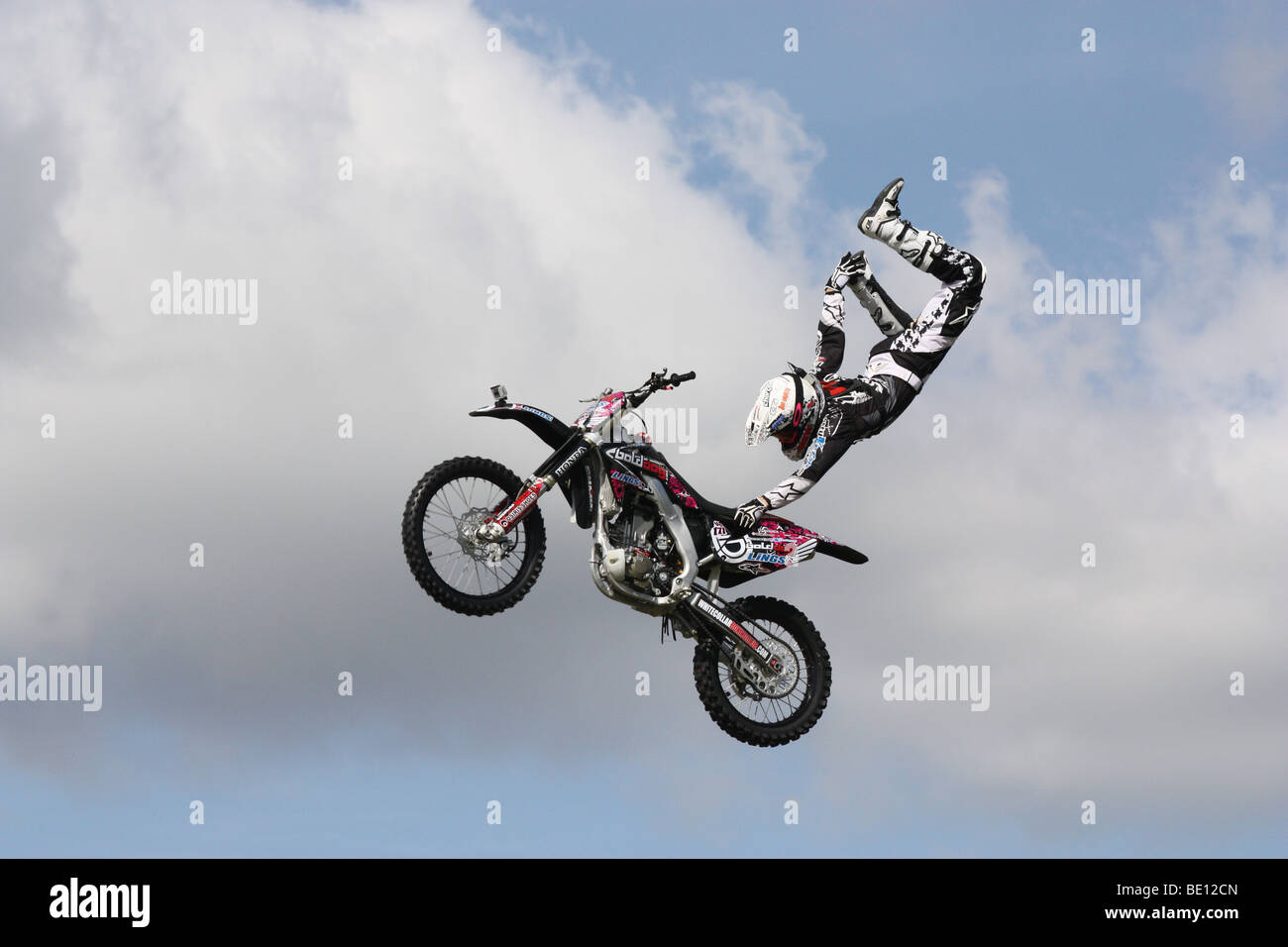 Motor cycle stunt display Romsey Show Hampshire UK 2009 - Stock Image