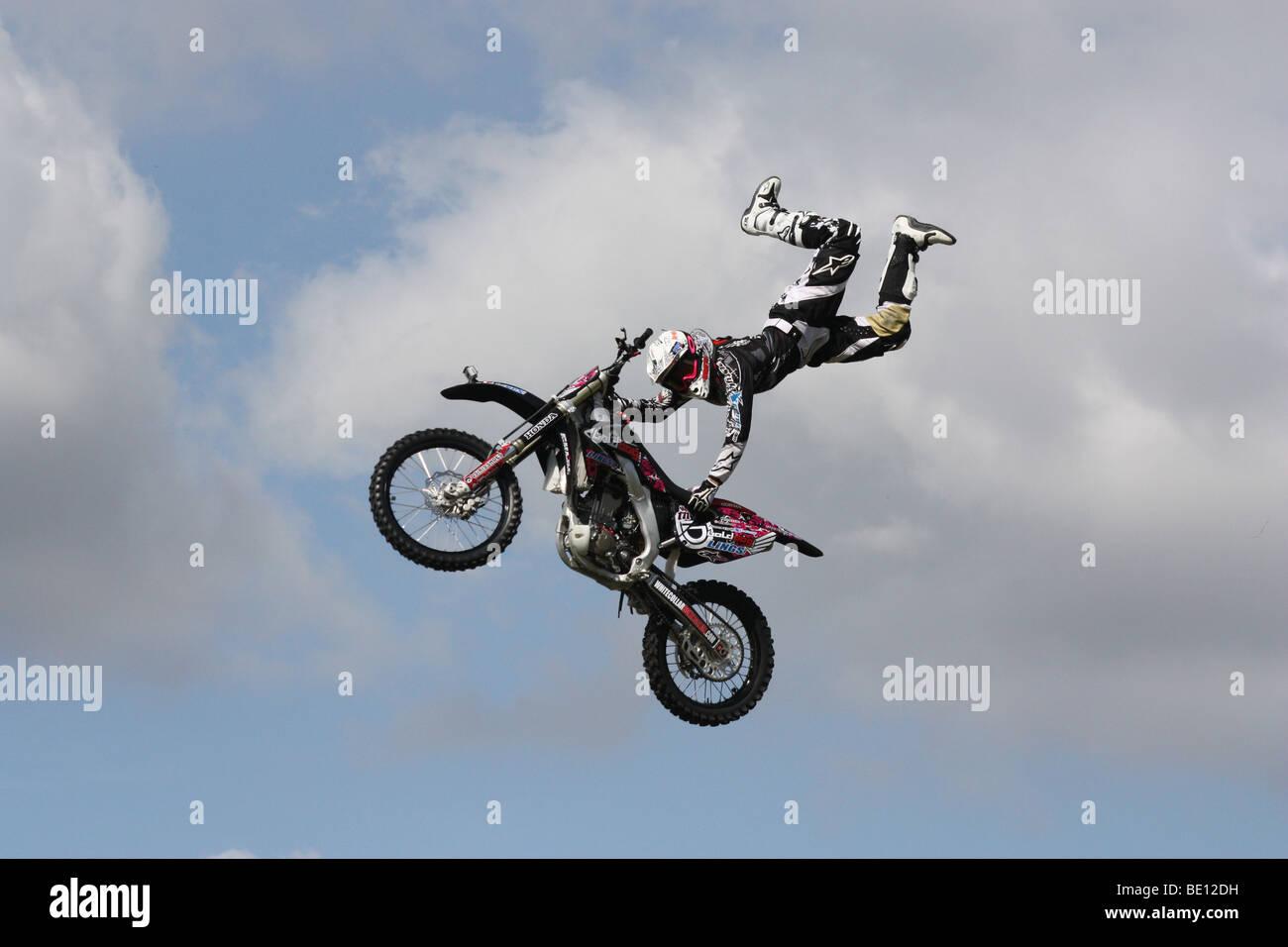 Motor cycle stunt display Romsey Show Hampshire UK 2009 Stock Photo