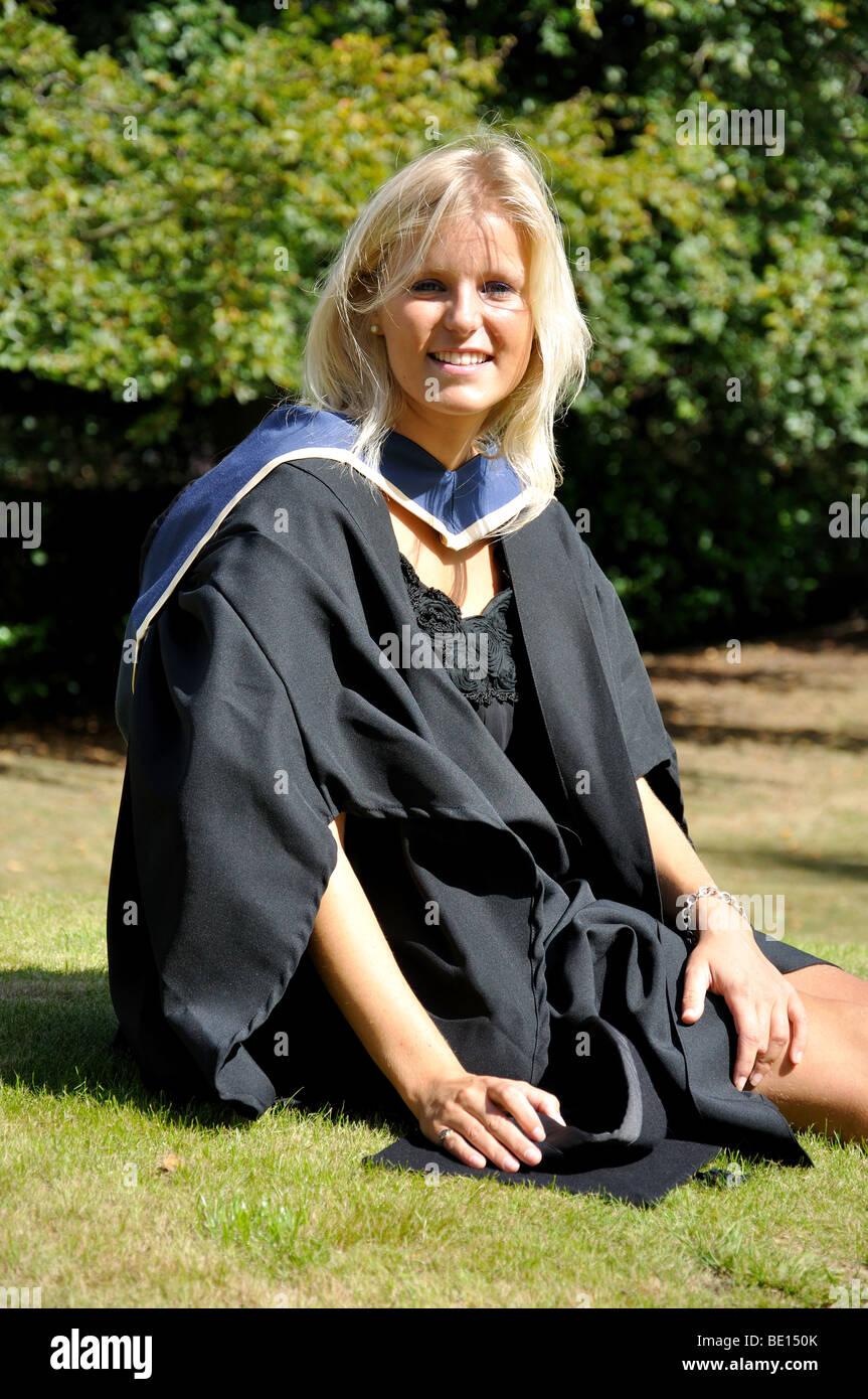 Young female University graduate, Oxford Brookes University, Headington, Oxfordshire, England, United Kingdom - Stock Image